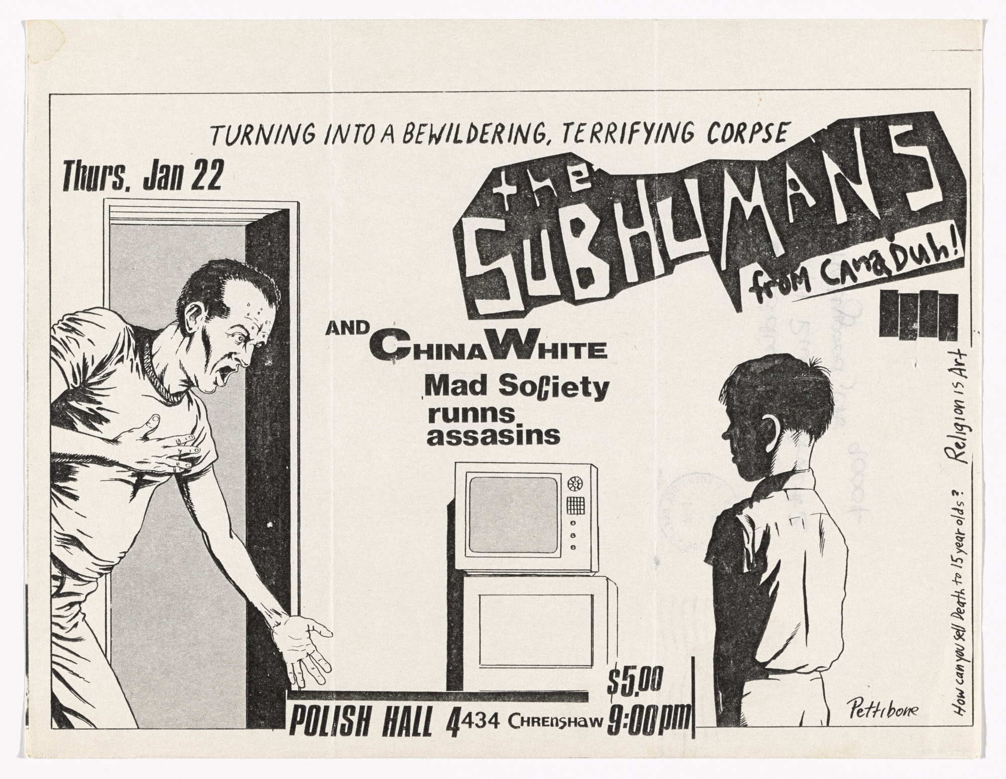 Raymond Pettibon. The Subhumans at Polish Hall. January 22, 1981
