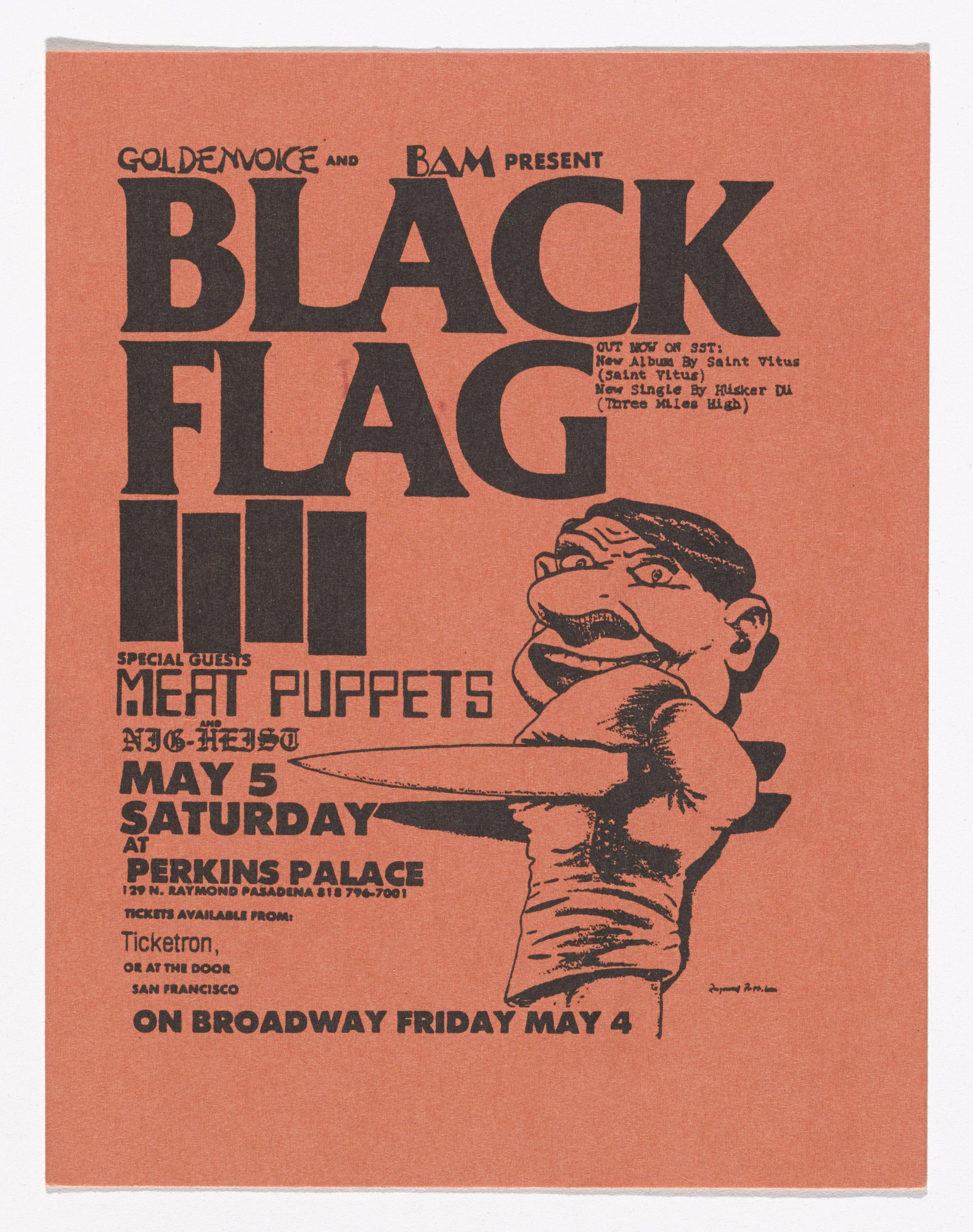 Raymond Pettibon. Black Flag at Perkins Palace. May 5, 1983