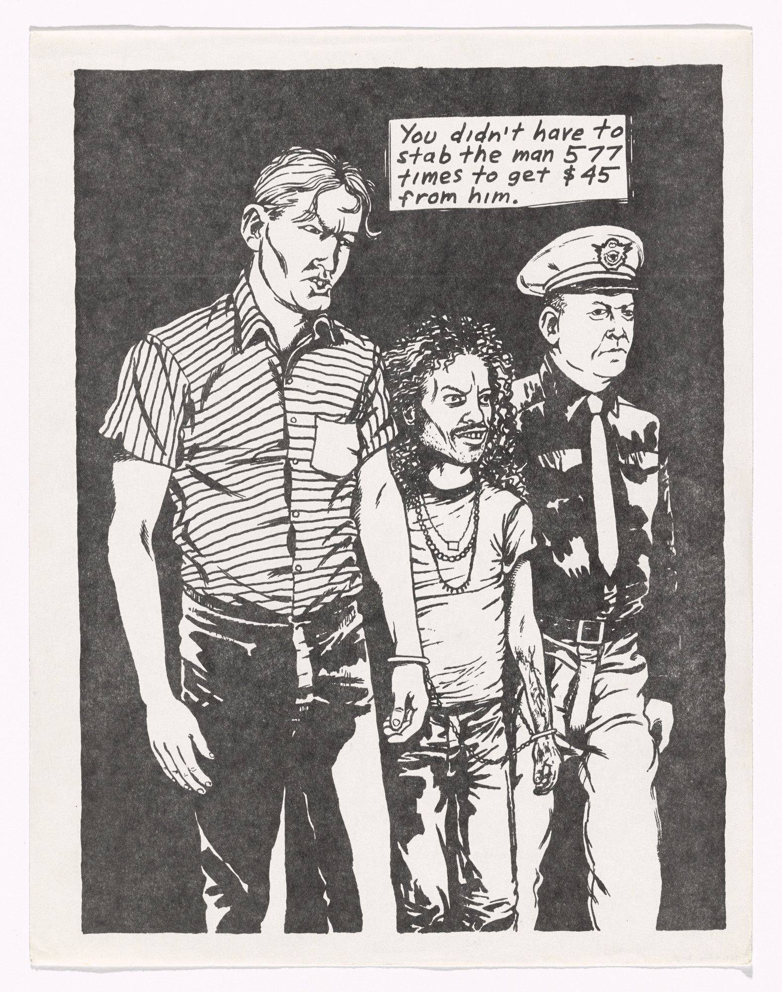 Raymond Pettibon. You didn't have to stab the man. n.d.
