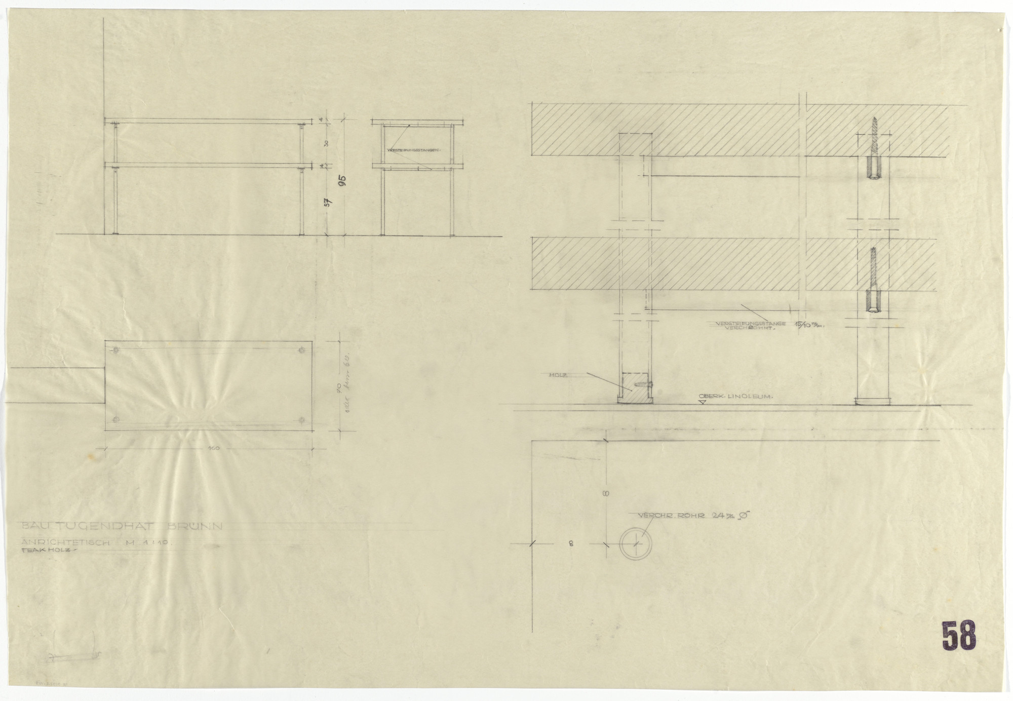 Ludwig Mies van der Rohe. Tugendhat House, Brno, Czech Republic (Plan, elevations and section; serving table). 1928-1930