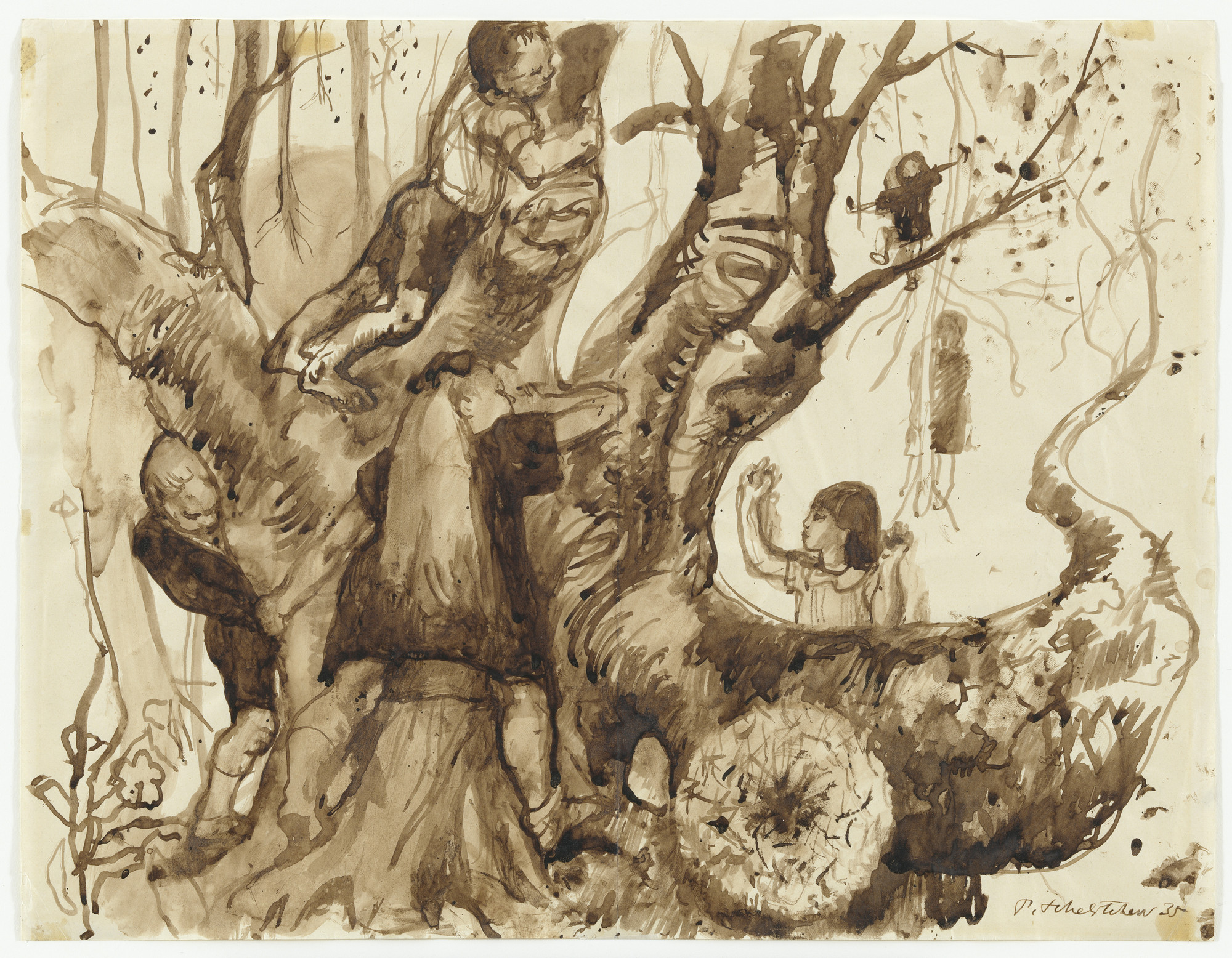Pavel Tchelitchew. Tree with Children (Study for Hide-and-Seek). 1935