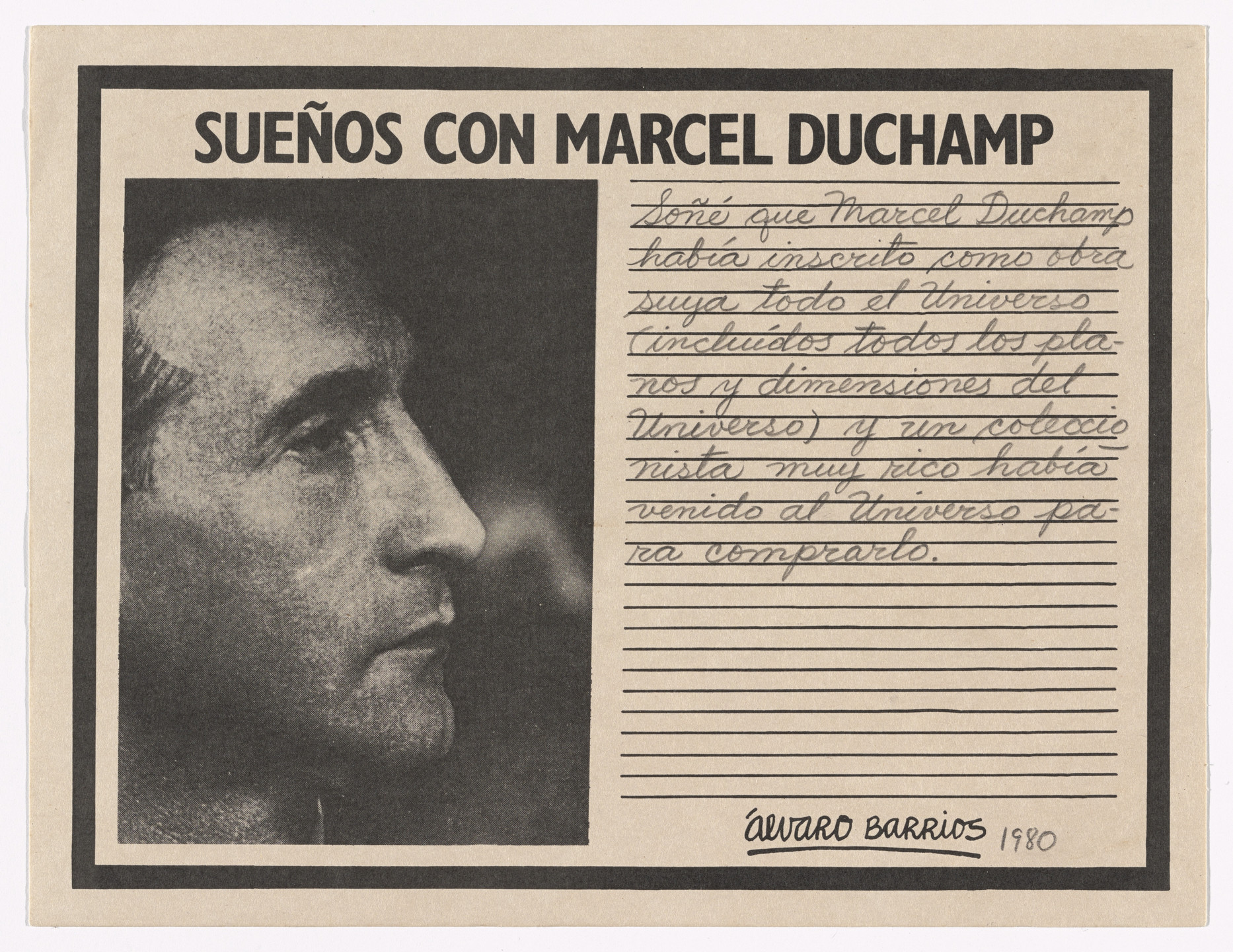 "Álvaro Barrios. Popular Print for the exhibition ""Dreams About Marcel Duchamp"" (Grabado popular impreso para la exhibición ""Sueños con Marcel Duchamp""). 1980"