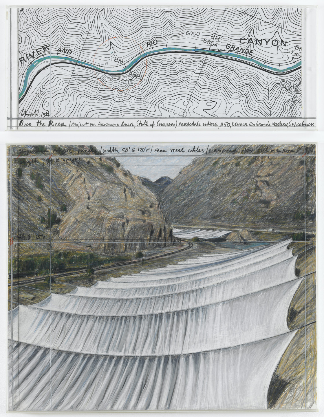 Christo. Over the River, Project for the Arkansas River, State of Colorado. 1996