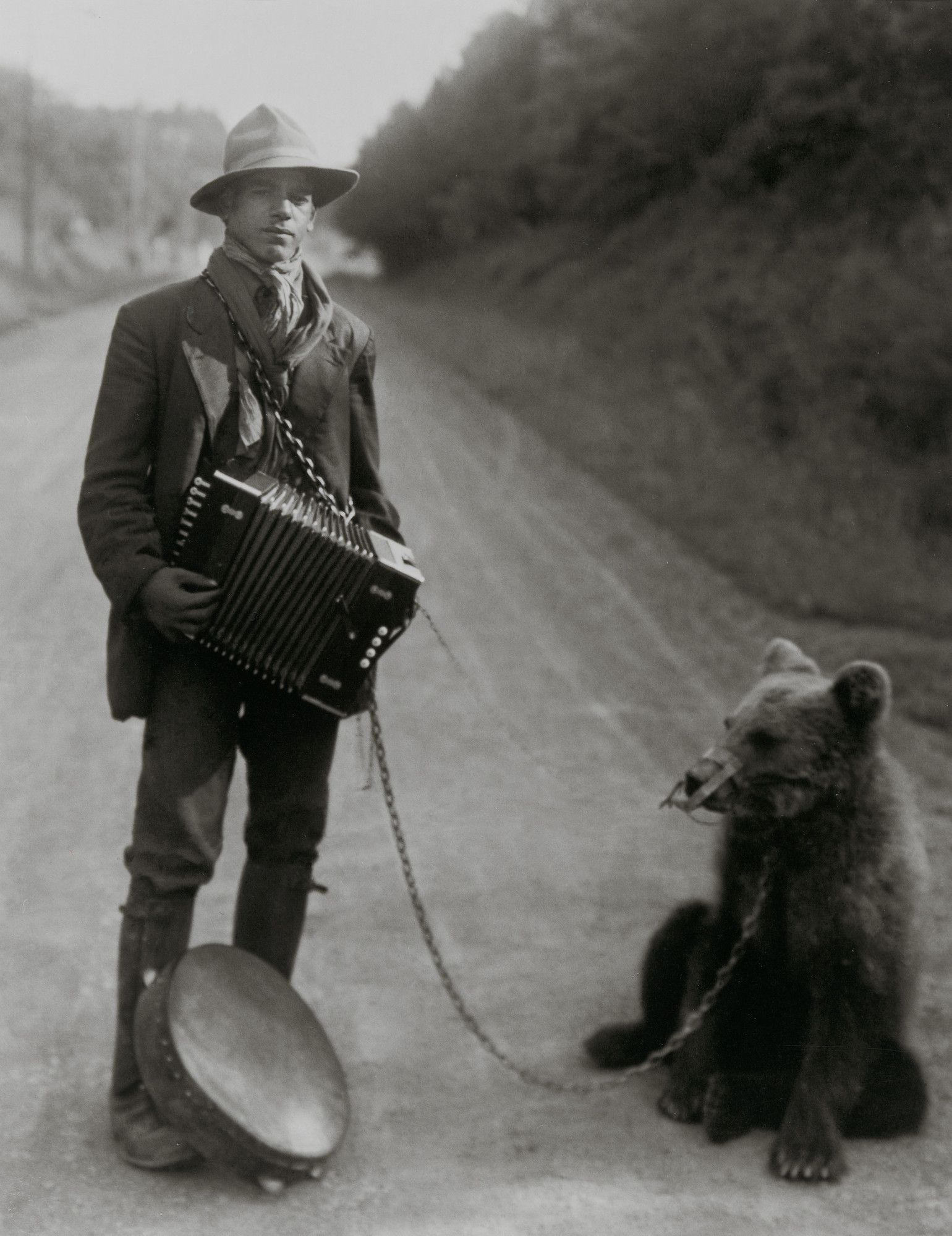 August Sander. Showman with Performing Bear in the Westerwald. 1929