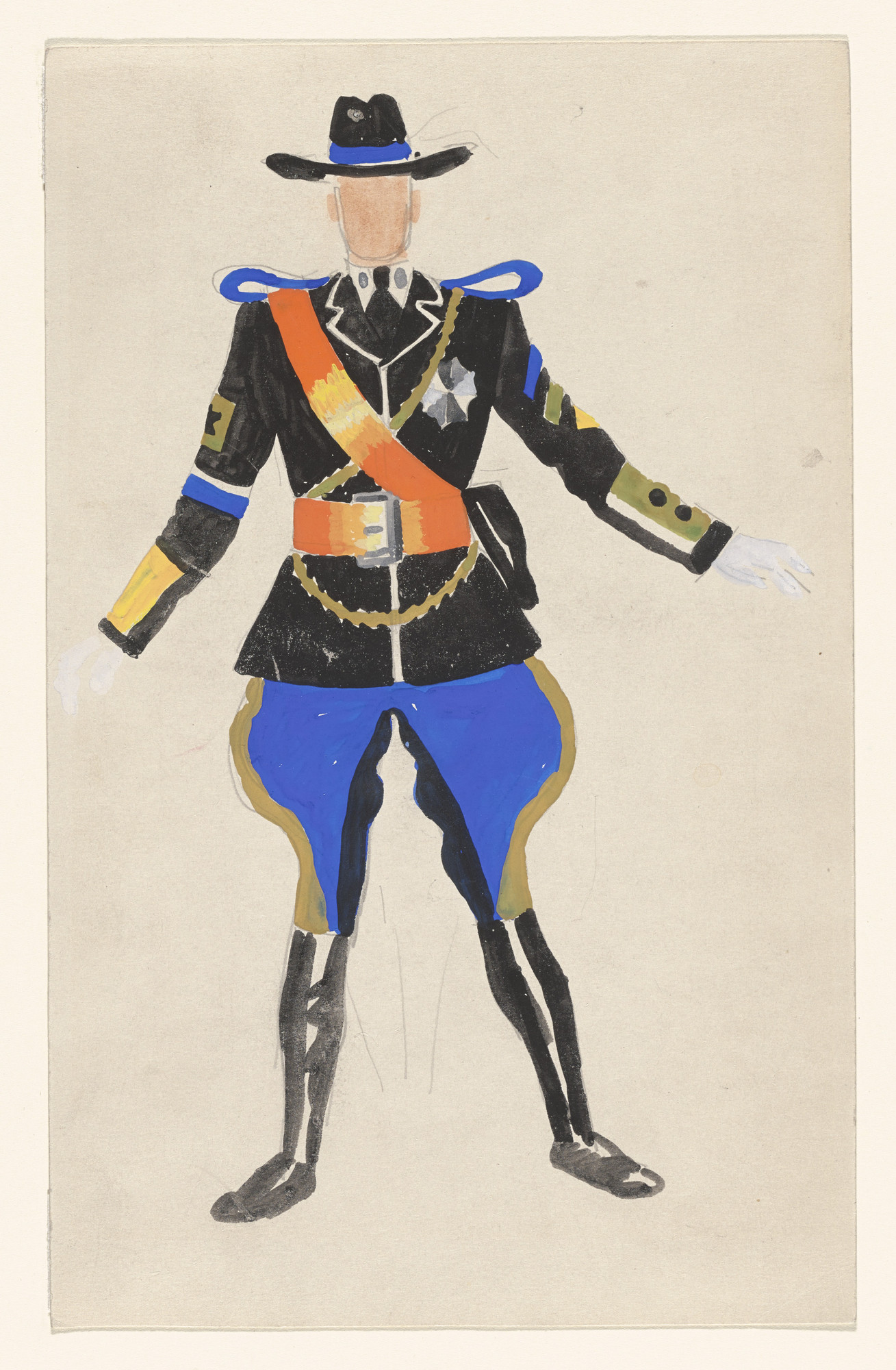 Paul Cadmus. Man's Costume - State Trooper. Costume design for the ballet Filling Station. 1937