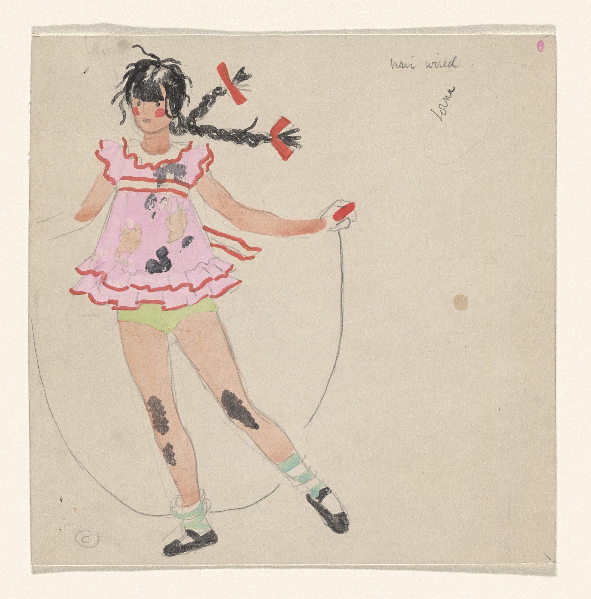 Paul Cadmus. A Girl (Lorna?). Costume design for the ballet Filling Station. 1937