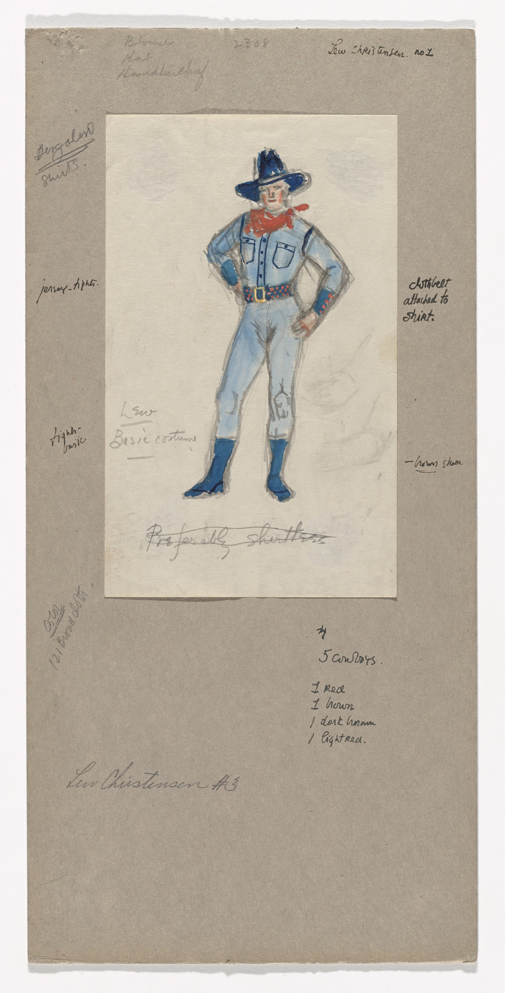 Jared French. Costume design for the ballet Billy the Kid. 1938