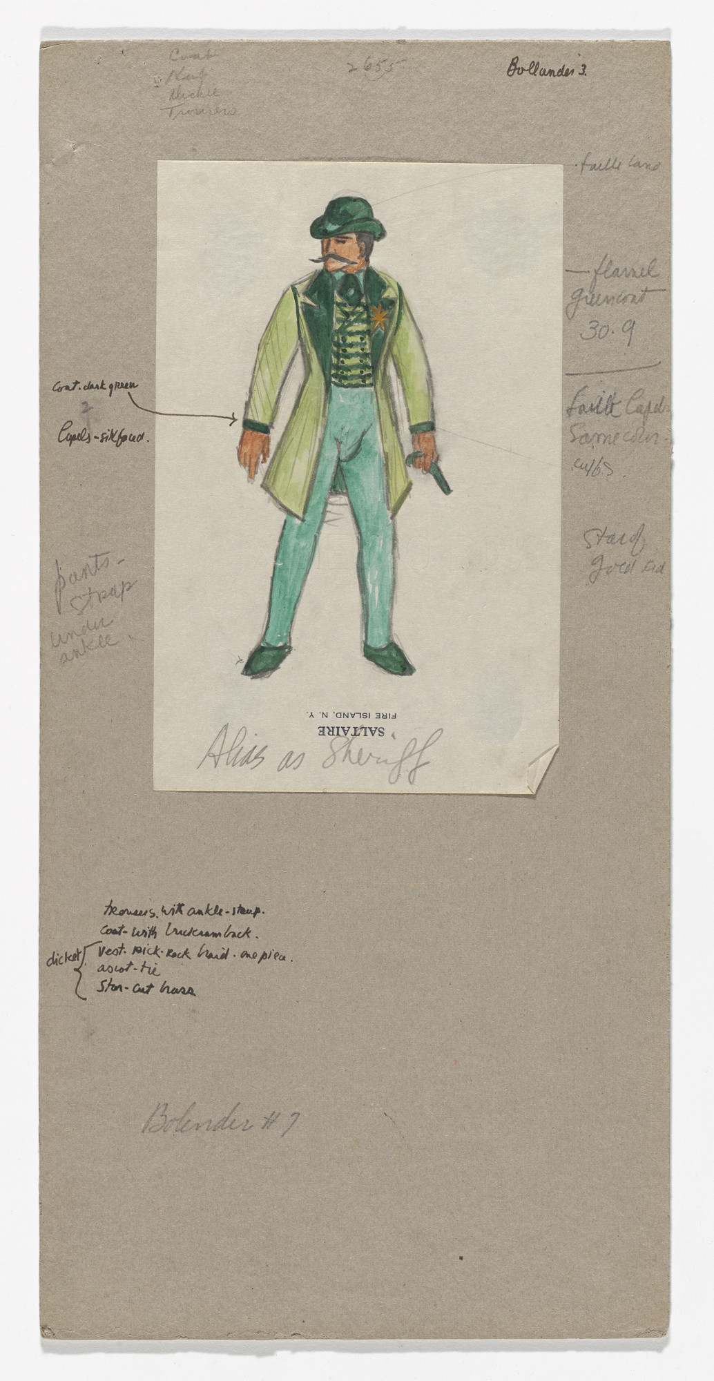 Jared French. Alias as Sheriff. Costume design for the ballet Billy the Kid. 1938