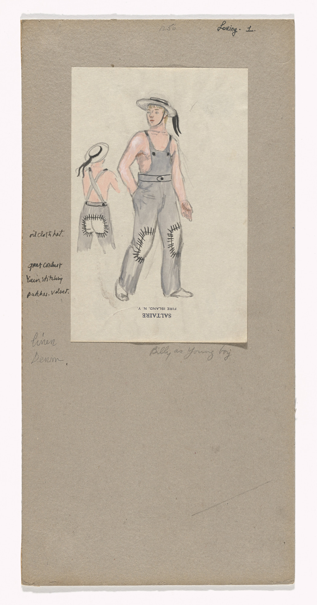 Jared French. Billy as Young Boy. Costume design for the ballet Billy the Kid. 1938