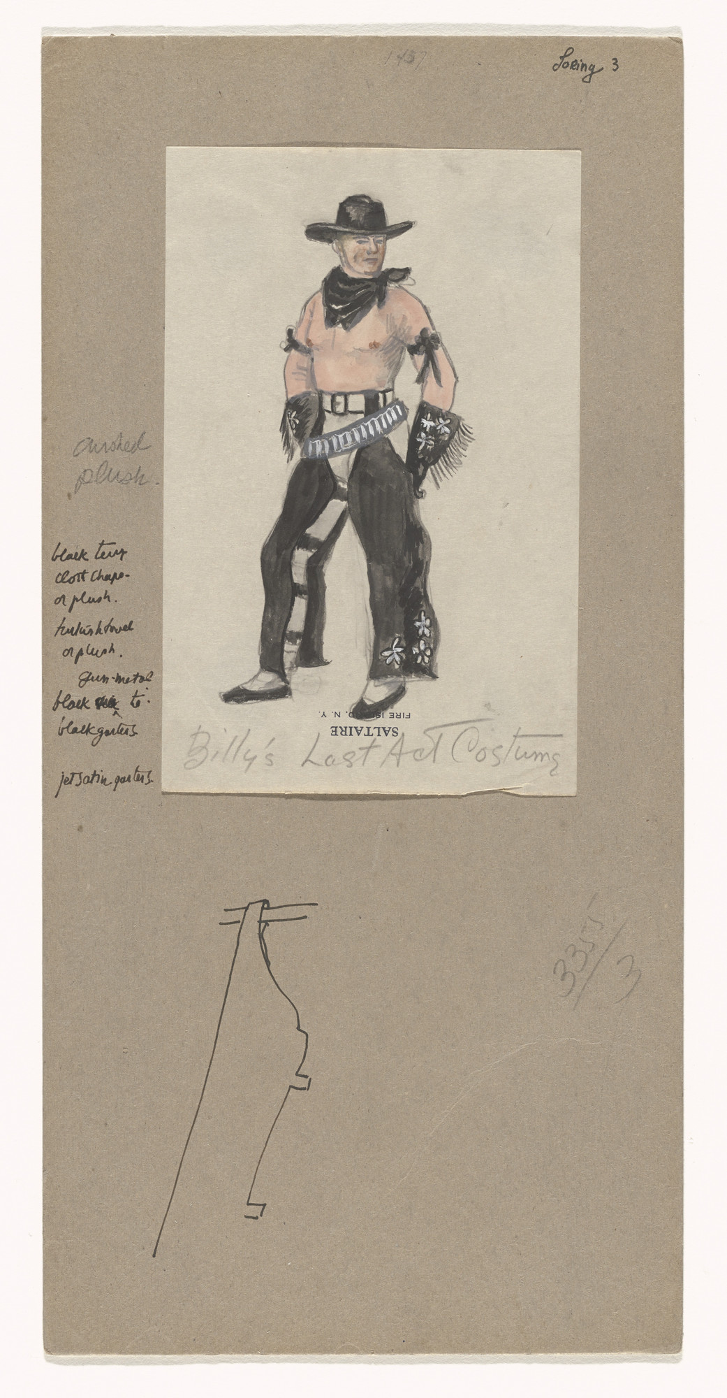 Jared French. Billy's Last Act Costume. Costume design for the ballet Billy the Kid. 1938
