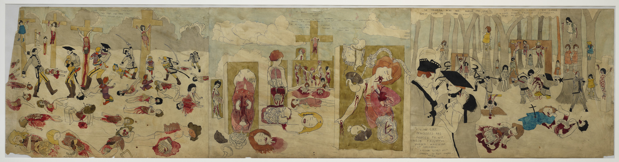 Henry Darger. a) Are almost murdered themselves though they fight for their lives typhoon saves them... b) Vivian girls said Glandelinian tent,. (n.d.)