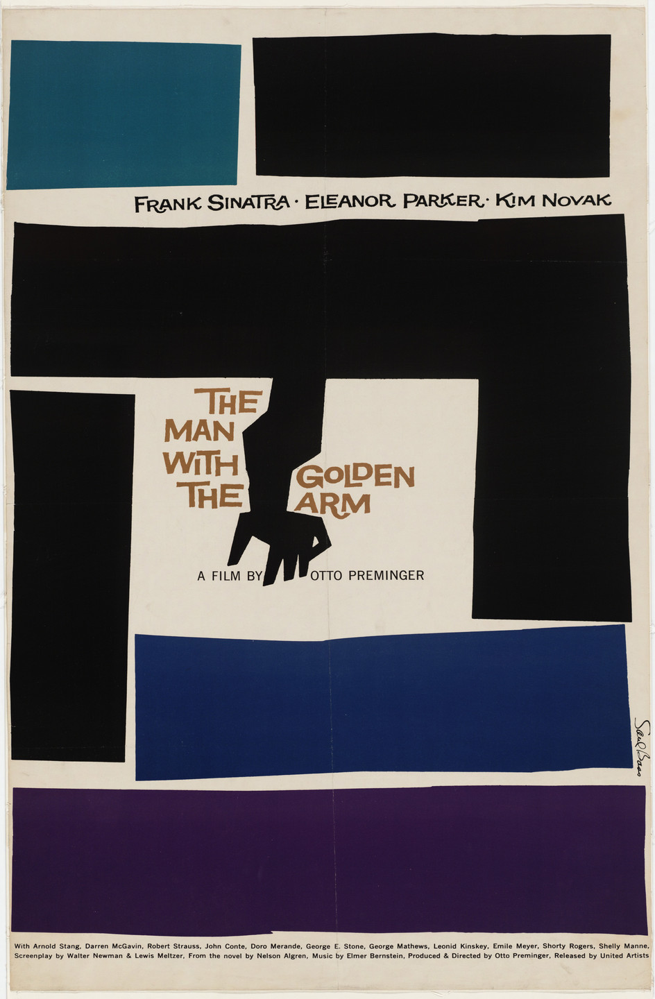 Saul Bass. Poster for the film The Man with the Golden Arm directed by Otto Preminger. 1955