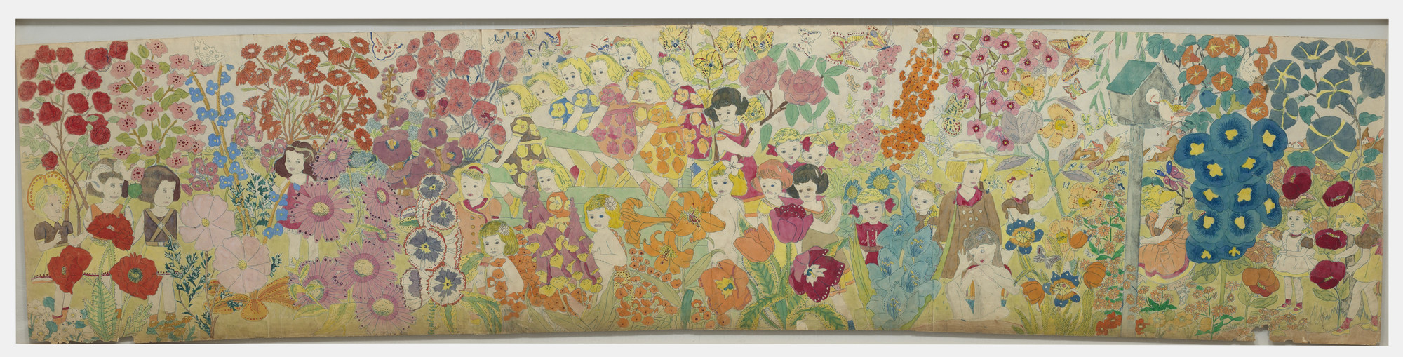 Henry Darger. a) Untitled (Overall flowers) b) Untitled (Beautiful girls sitting around with giant cactus in center),. (n.d.)