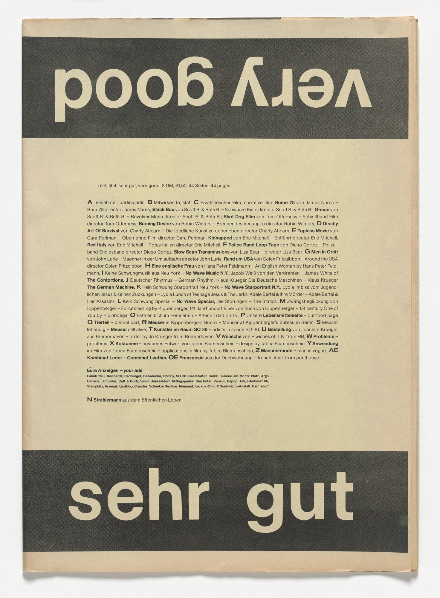 Martin Kippenberger. Sehr Gut / Very Good. 1979
