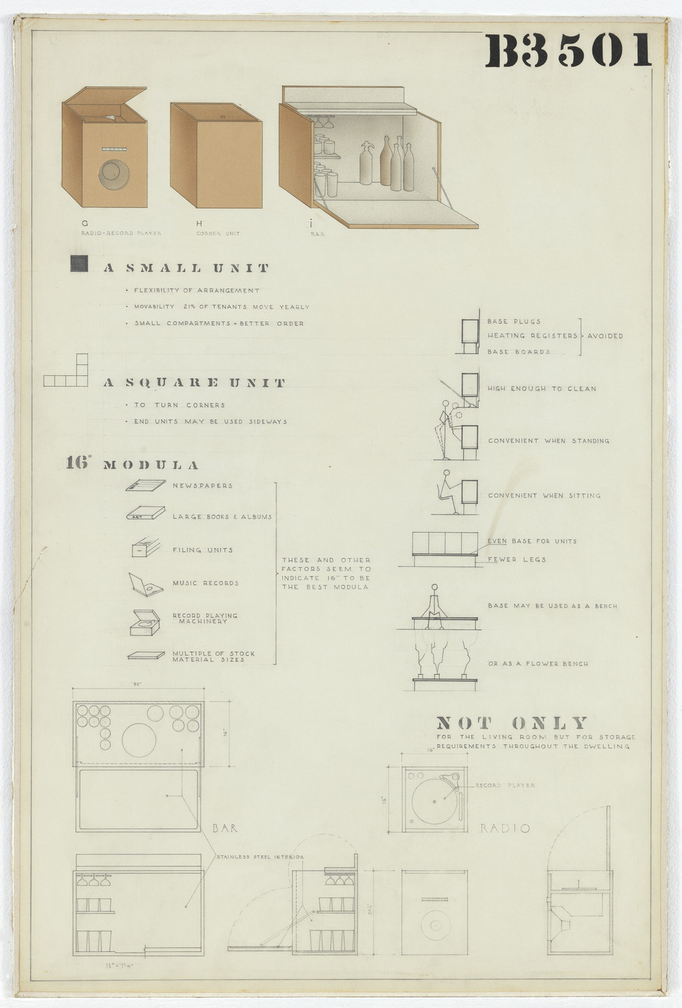 Charles Eames, Eero Saarinen. Cabinets (Entry Panel for MoMA Competition for Organic Design in Home Furnishings). 1940