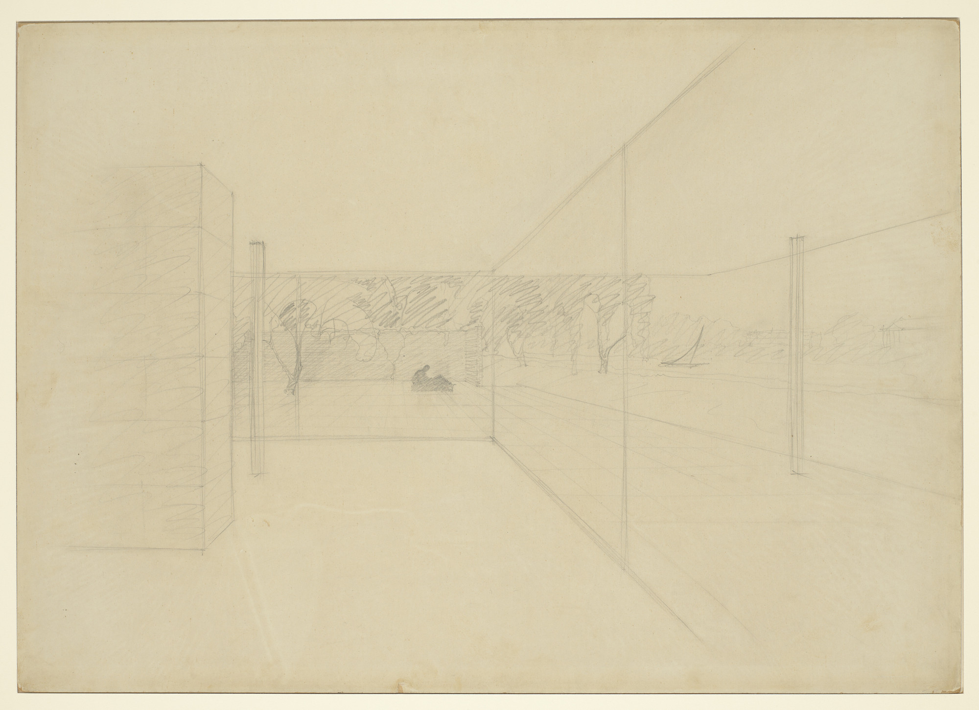 Ludwig Mies van der Rohe. Hubbe House Project , Magdeburg, Germany (Perspective view of living room and terrace). 1934-35