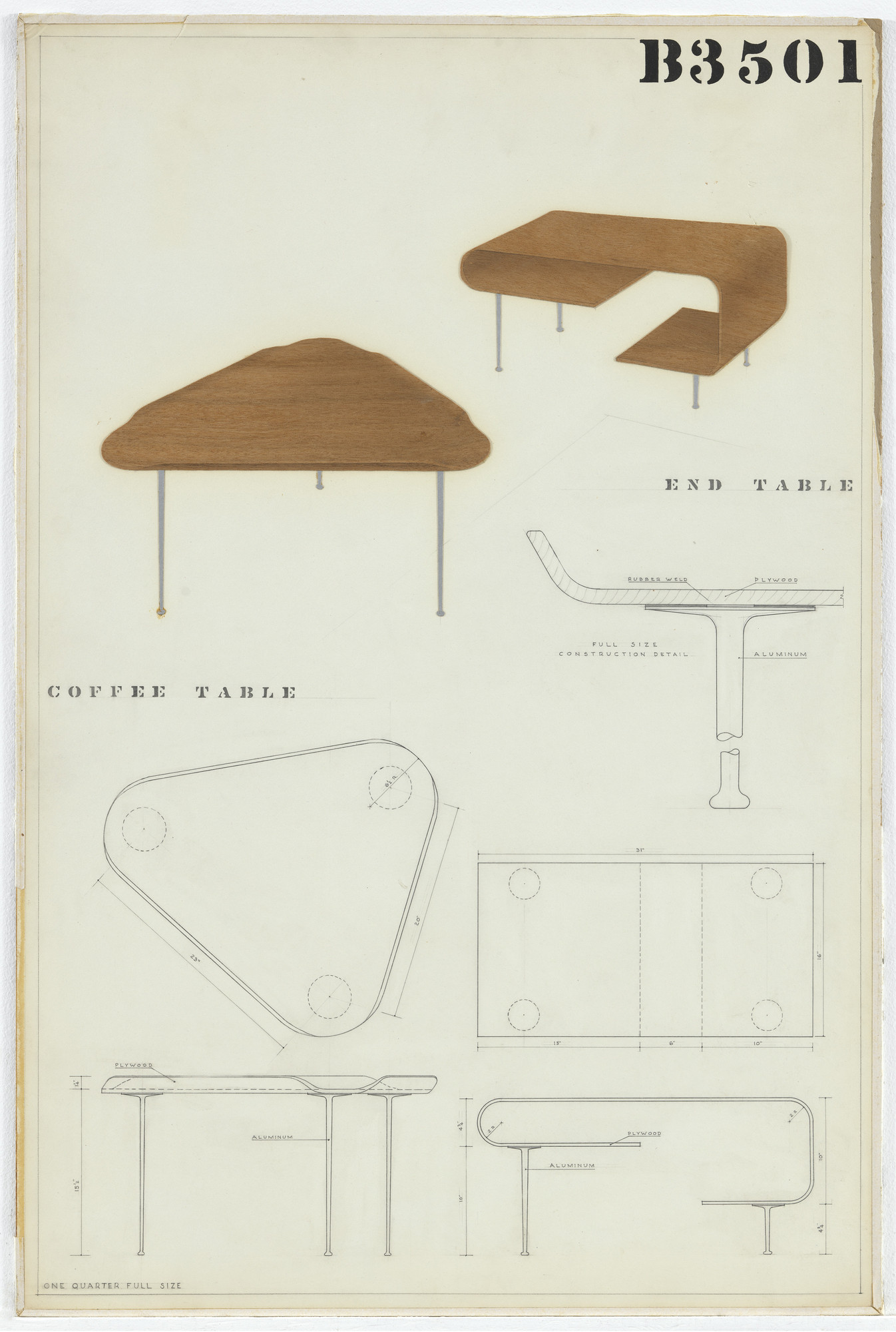 Charles Eames, Eero Saarinen. Coffee Table (Entry Panel for MoMA Competition for Organic Design in Home Furnishings). 1940