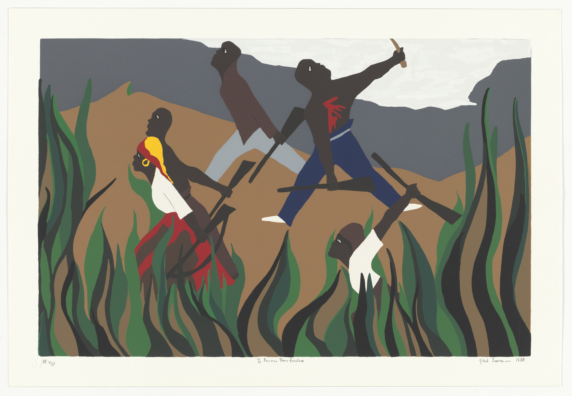Jacob Lawrence. To Preserve Their Freedom from the series The Life of Toussaint L'Ouverture. 1988