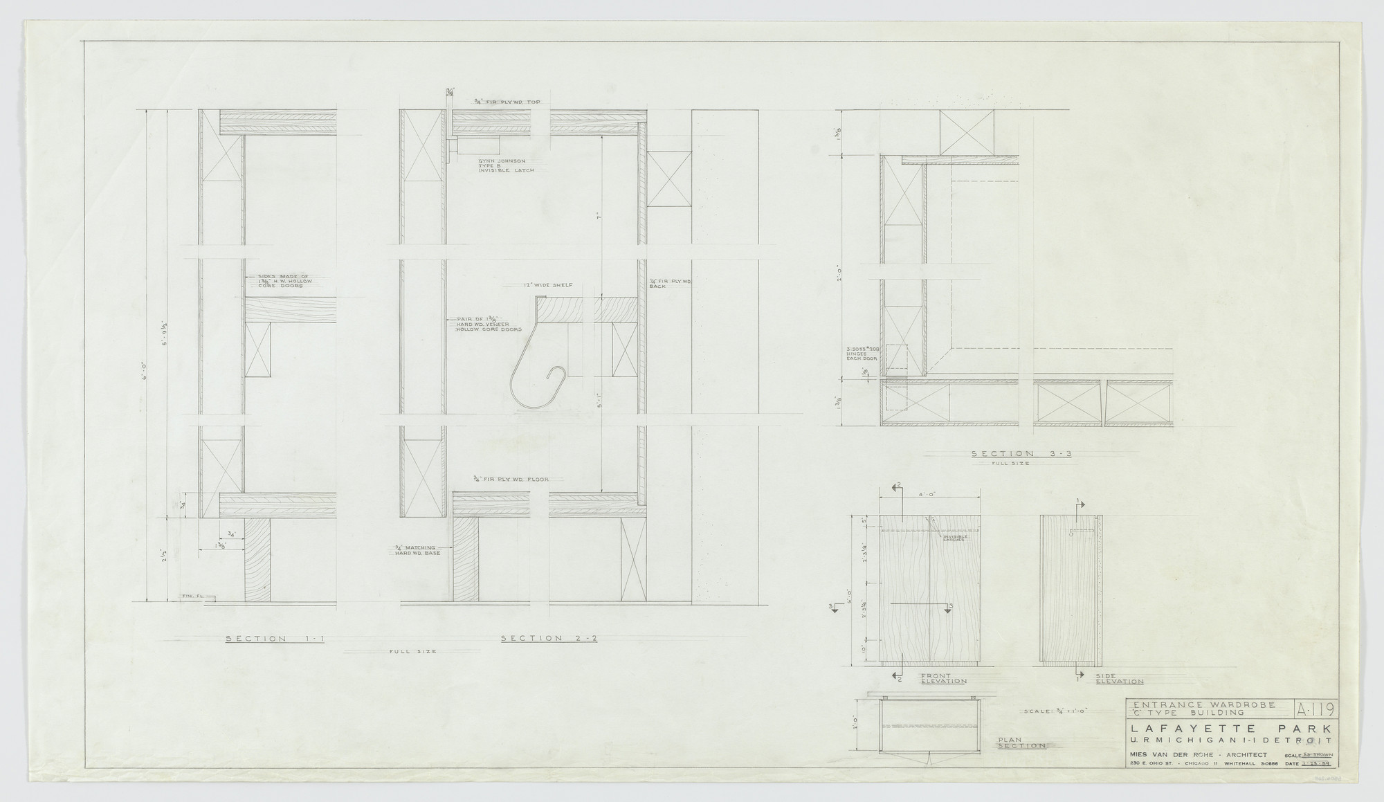 Ludwig Mies van der Rohe. Pavilion Apartments and Town Houses, Lafayette Park, Detroit, MI (Entrance wardrobe C type building. Plan, elevations, sections.). 1958