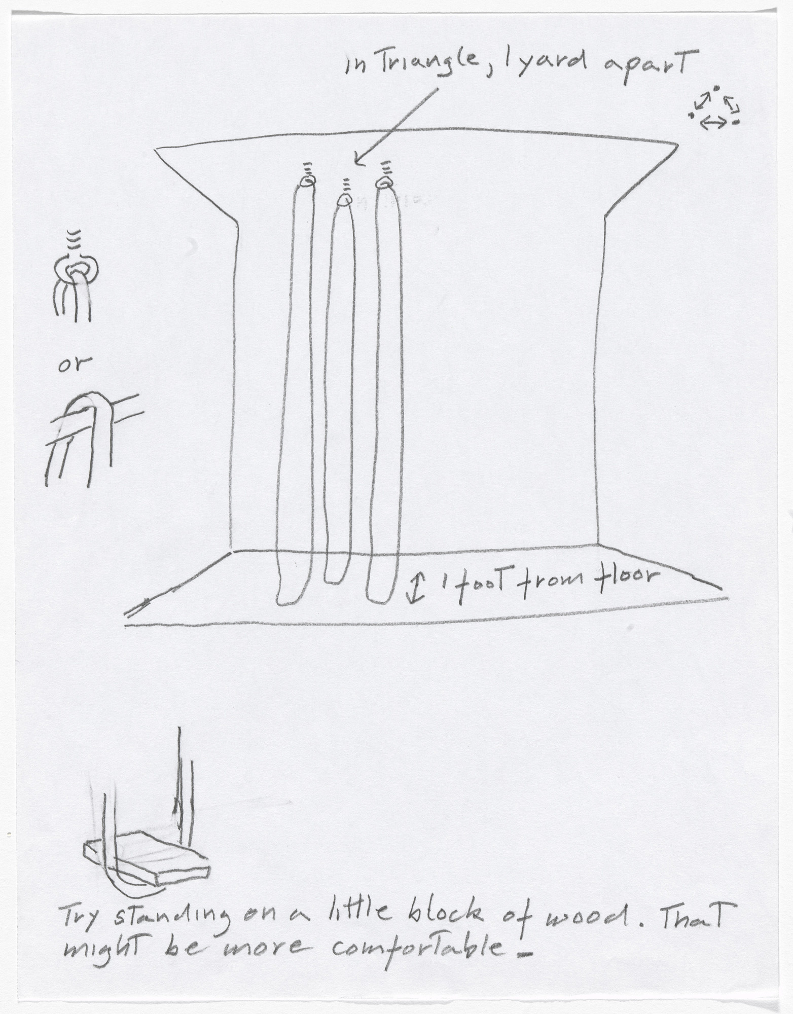 "Simone Forti. Sketches from ""Hangers"" Performance. 2010"