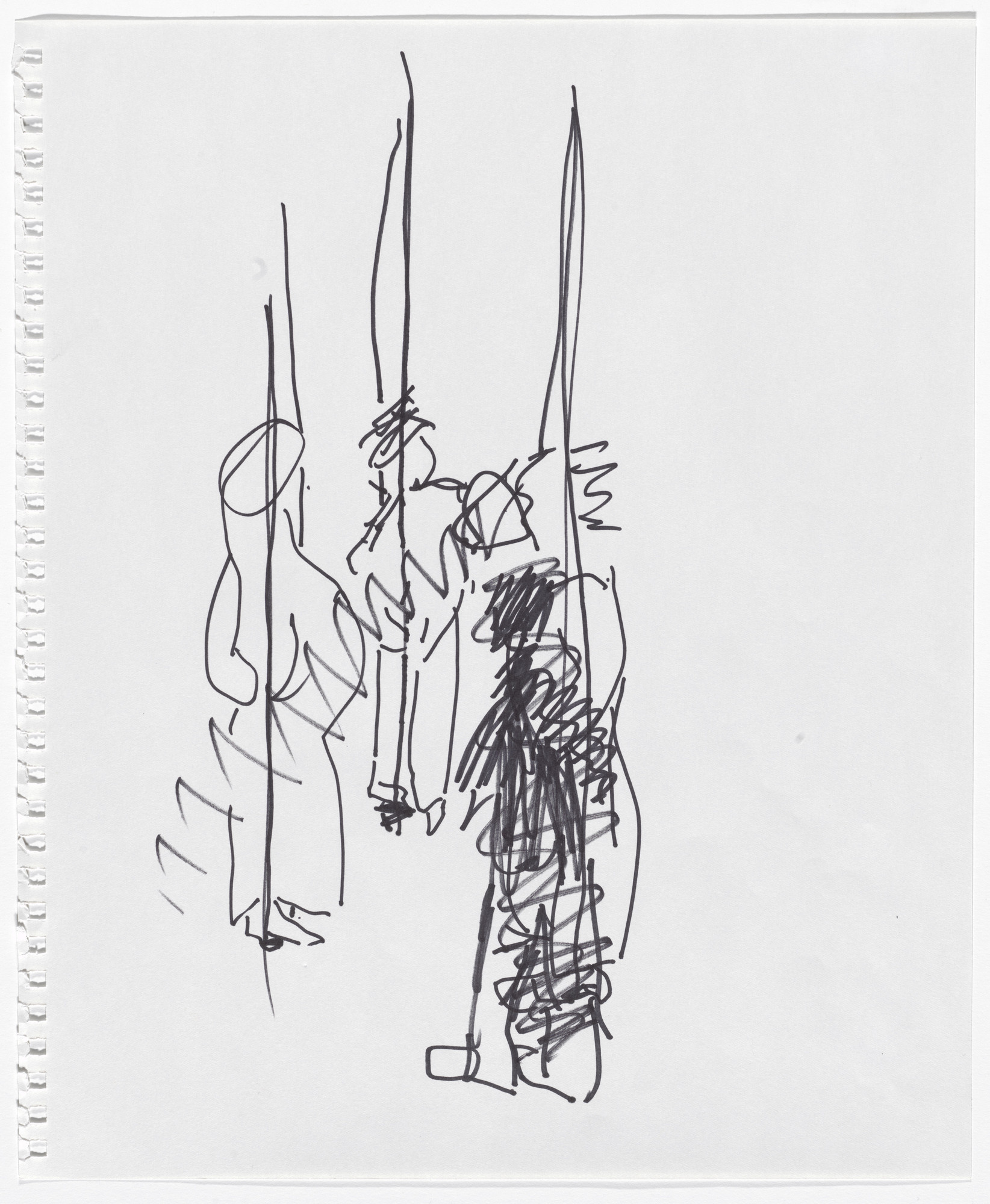 "Simone Forti. Solo drawing from the ""Hangers"" Performance. 2010"