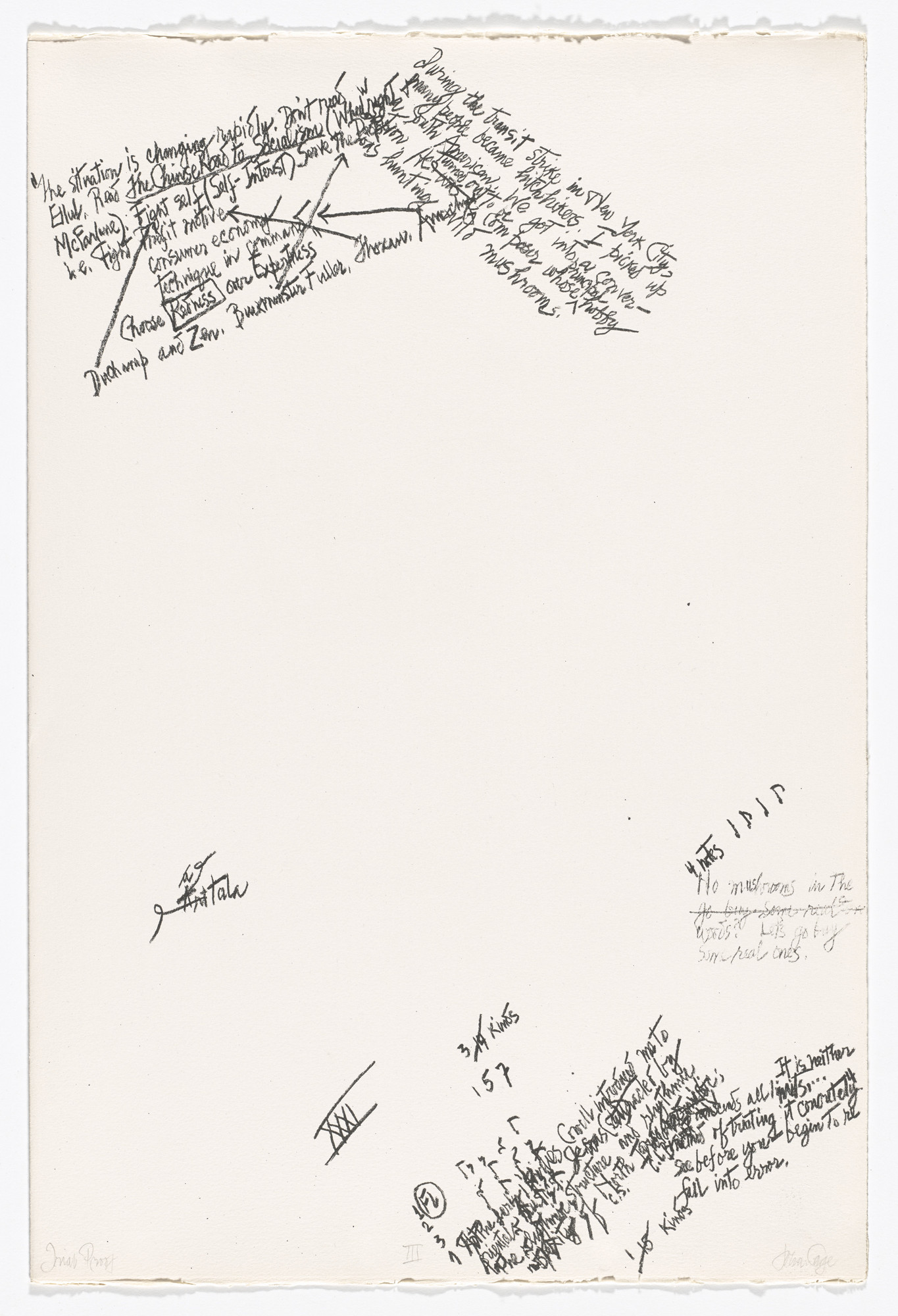 John Cage. III from Mushroom Book. 1972.  (Print executed 1971-1972).
