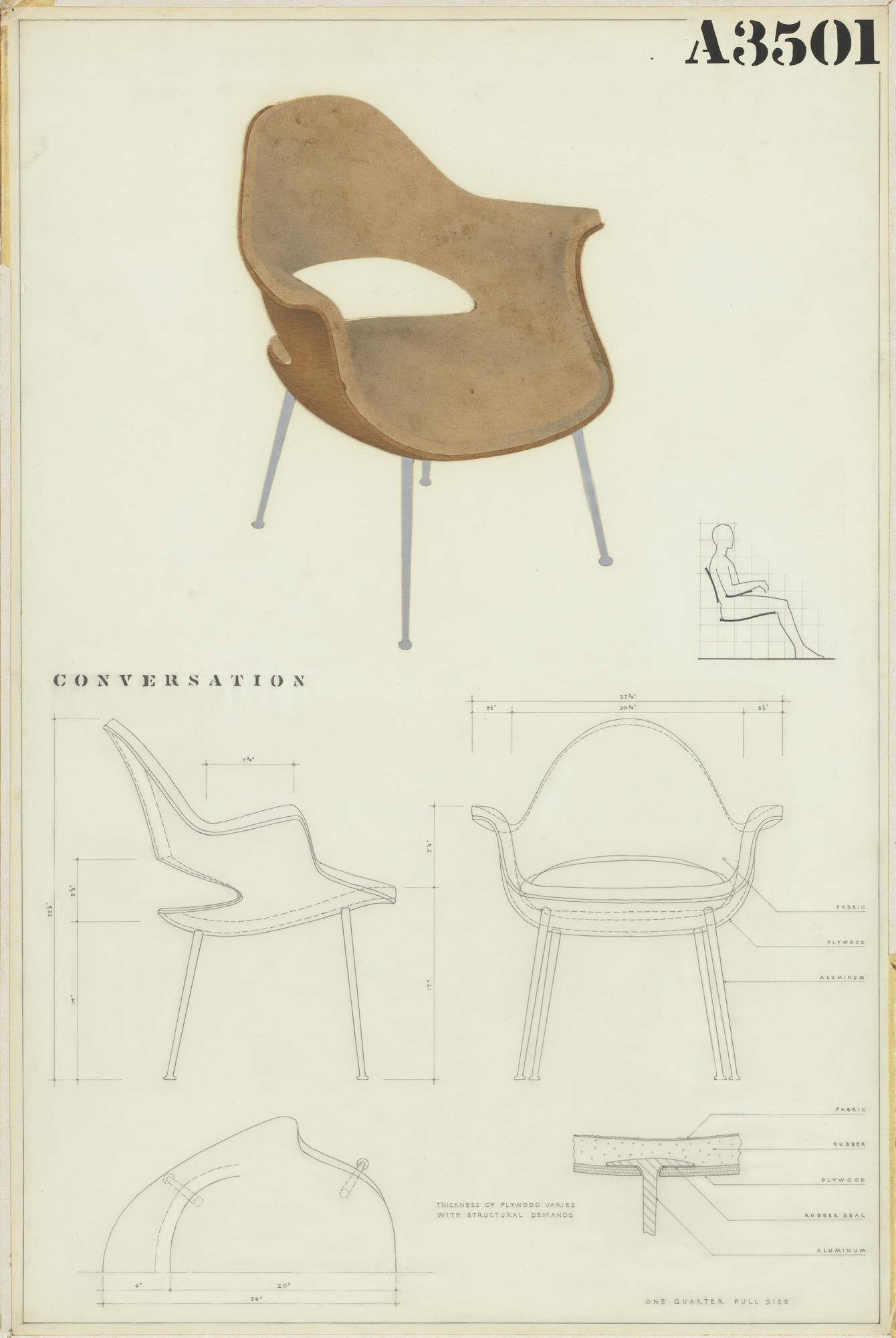 Charles Eames, Eero Saarinen. Low-Back Armchair (Entry Panel for MoMA Competition for Organic Design in Home Furnishings). 1940