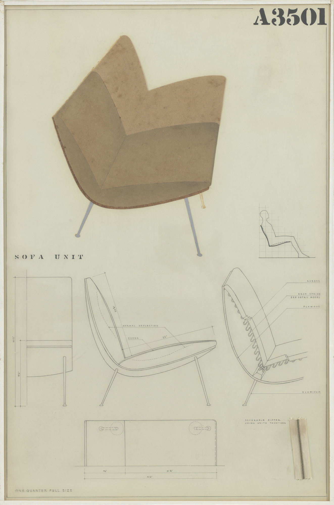 Charles Eames, Eero Saarinen. Sofa Unit (Entry Panel for MoMA Competition for Organic Design in Home Furnishings). 1940