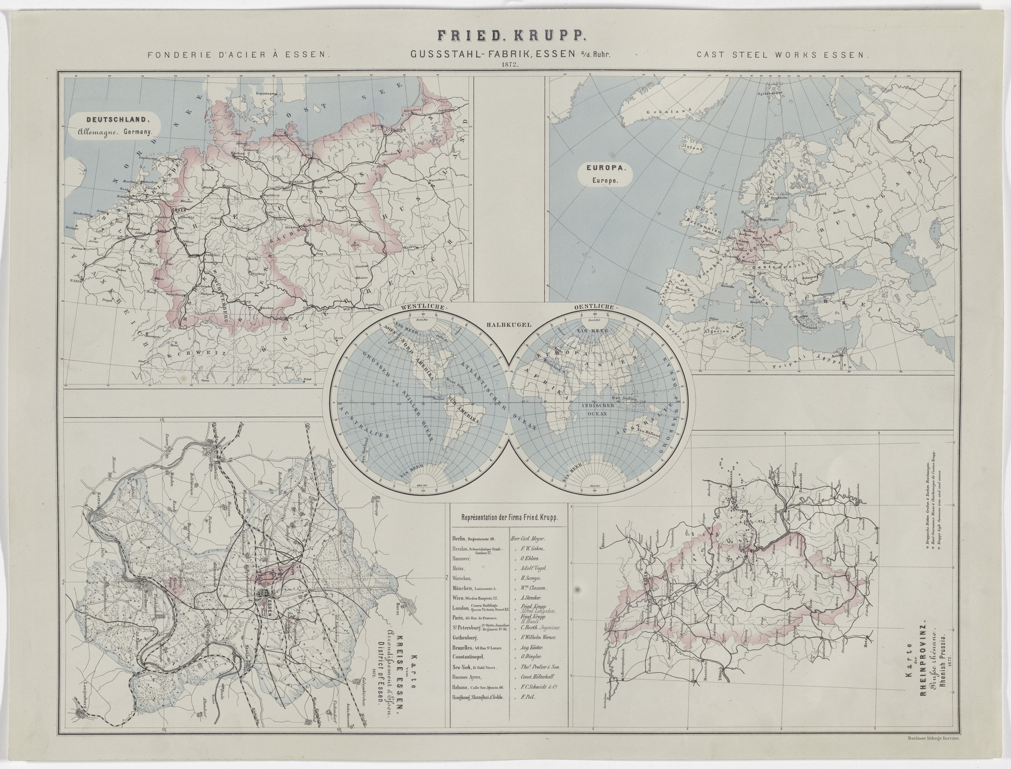 Hugo van Werden. Map of Friedrich Krupp Cast Steel Works, Essen. 1872