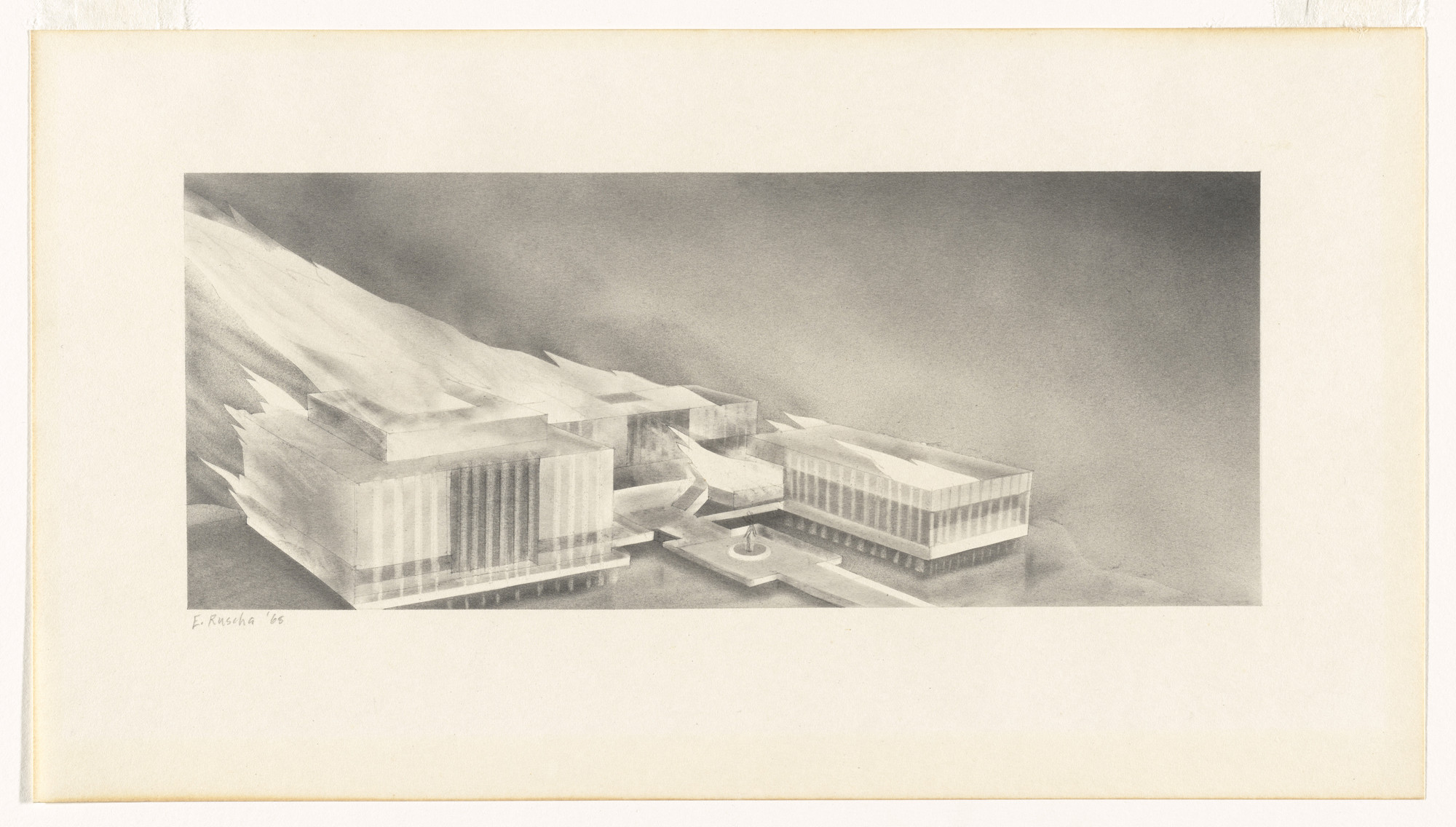 Edward Ruscha. Museum on Fire. 1968