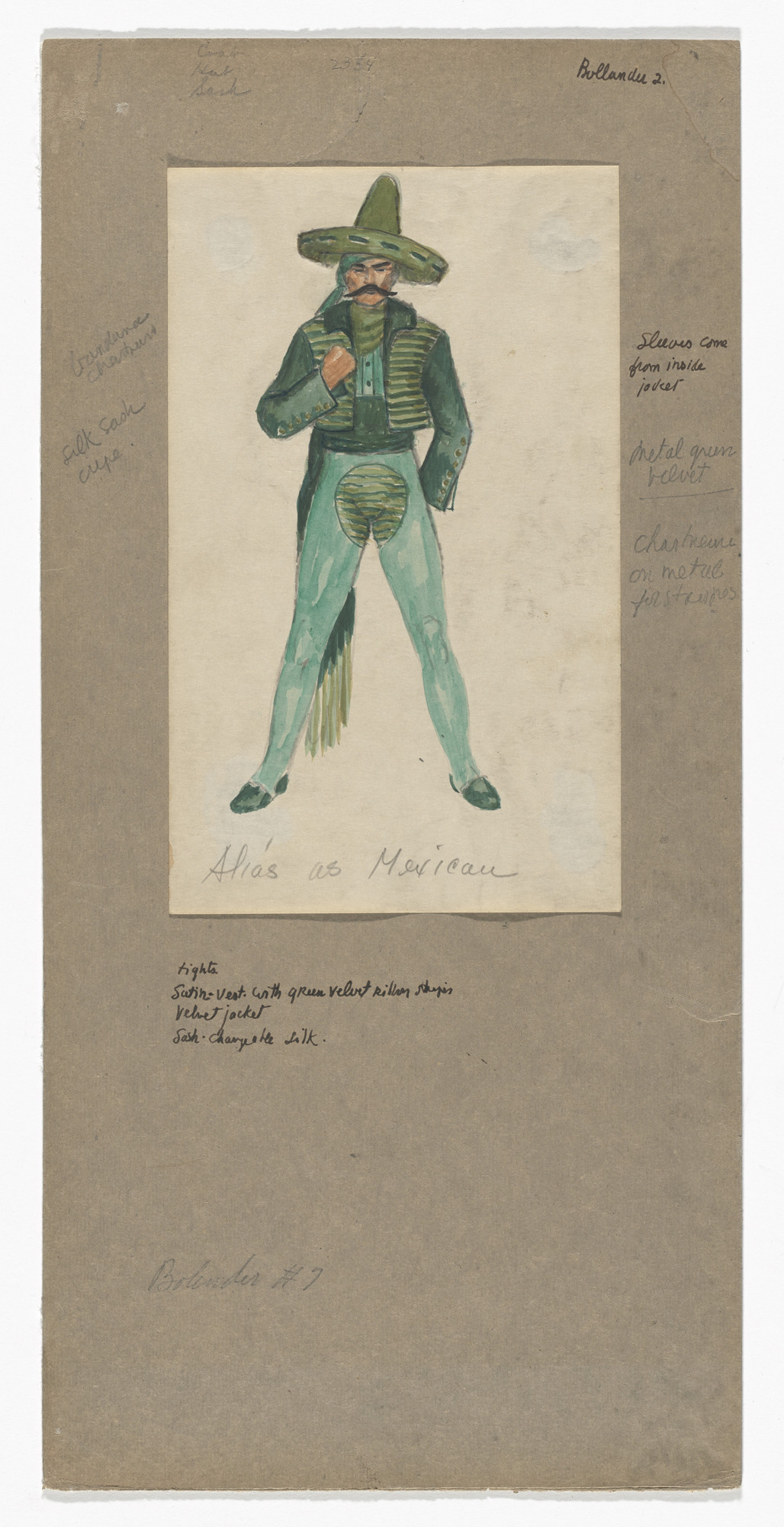 Jared French. Alias as Mexican. Costume design for the ballet Billy the Kid. 1938