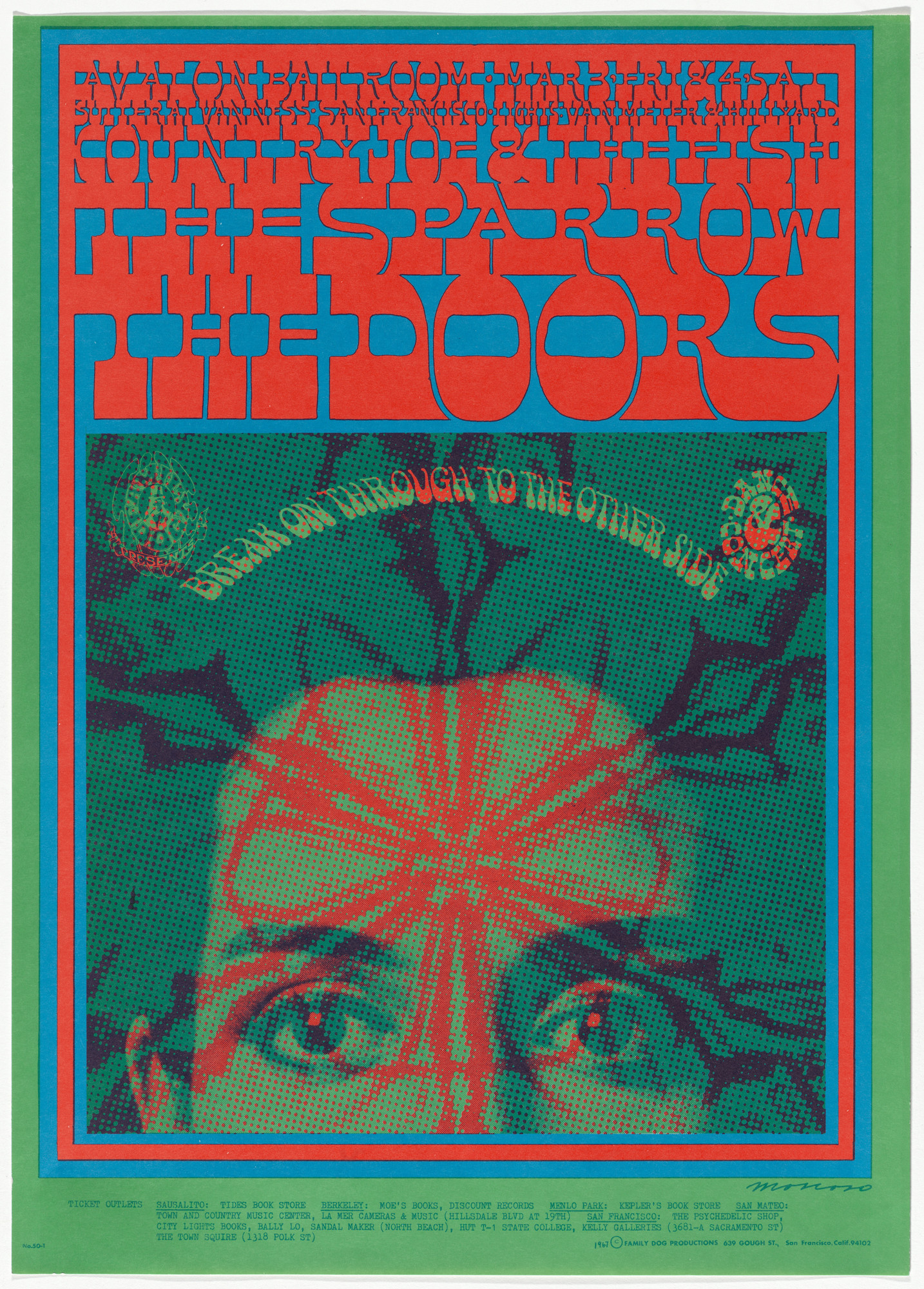 Victor Moscoso. The Doors, Sparrow, Country Joe and the Fish. 1967