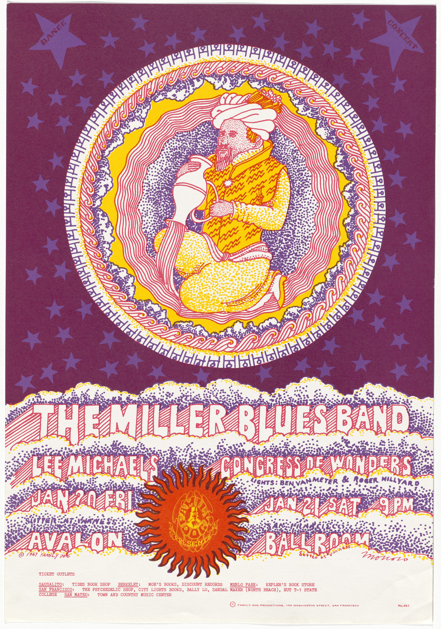 Victor Moscoso. The Miller Blues Band, Lee Michaels, Congress of Wonders. 1967