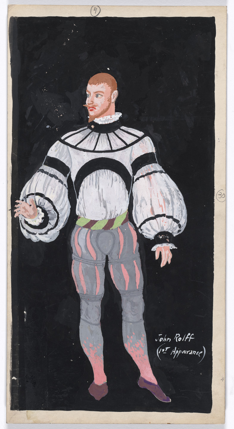 Karl Free. John Rolff (1st Appearance). Costume design for the ballet Pocahontas. c. 1936