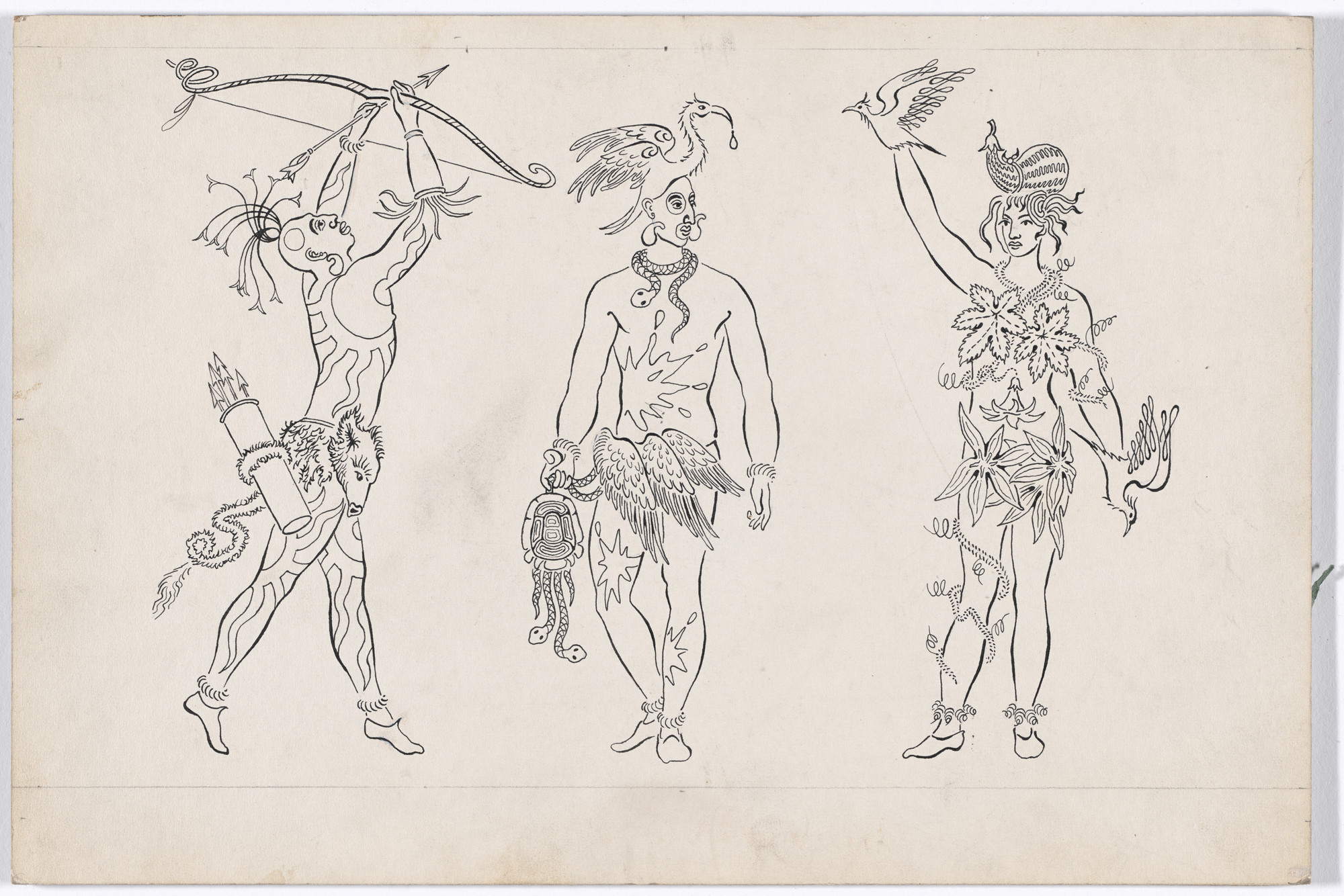 Karl Free. Two Indian Men and One Indian Girl. Costume design for the ballet Pocahontas. c. 1936