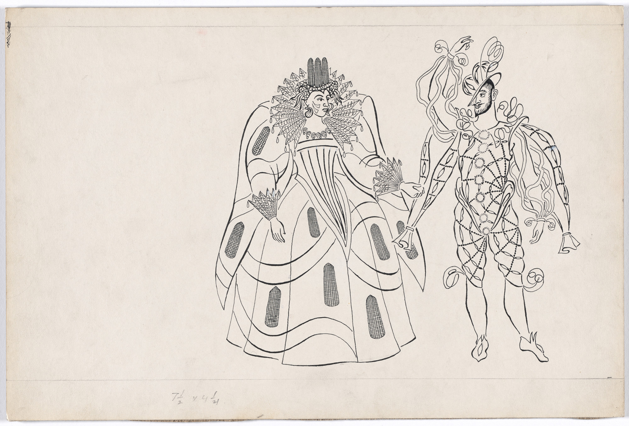 Karl Free. Pocahontas and John Smith. Costume design for the ballet Pocahontas. c. 1936