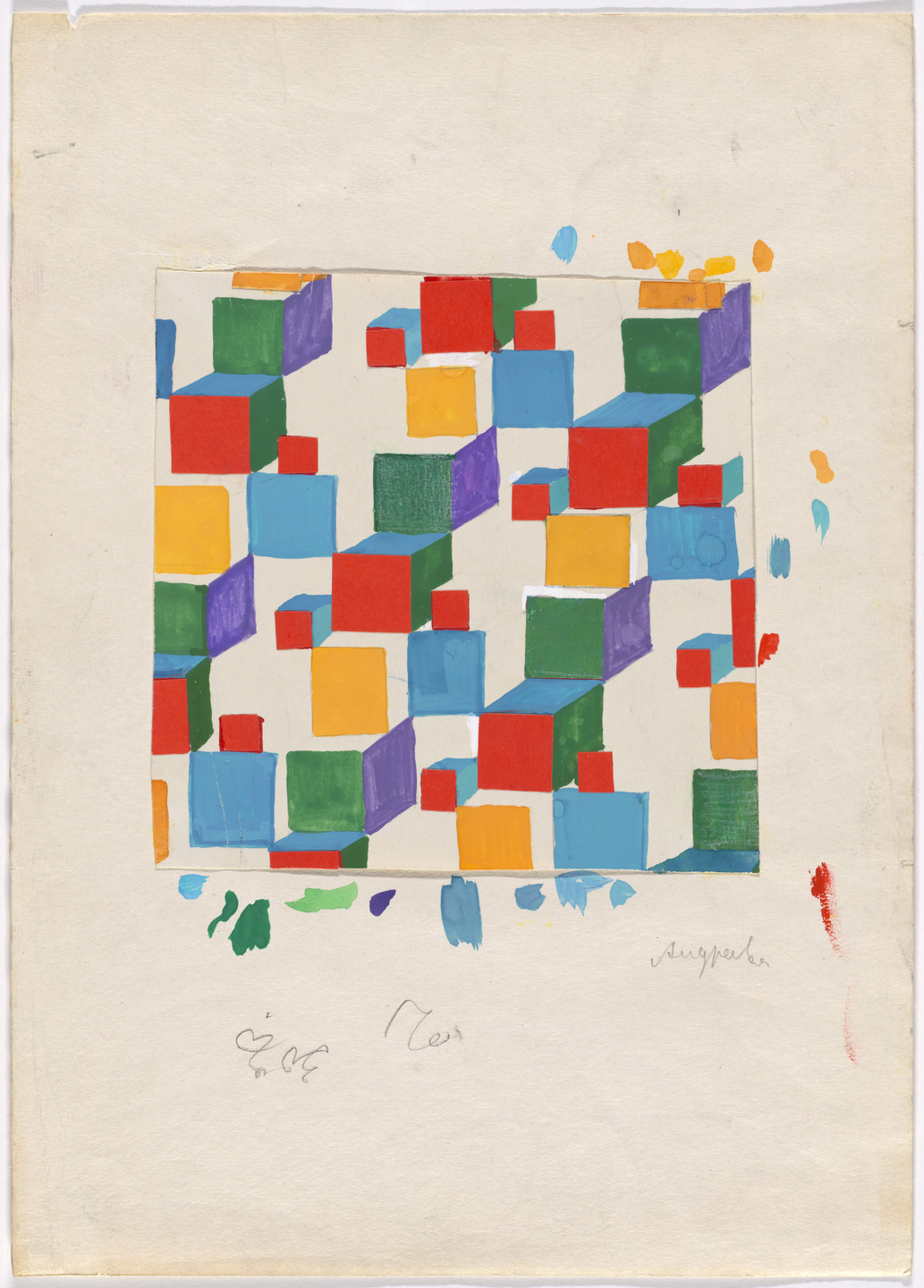 Anna Andreeva. Cubes (design for children's textile). c. 1960s