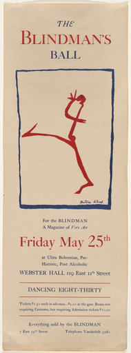 Beatrice Wood. Poster for The Blind Man's Ball, Webster Hall, New York City. 1917