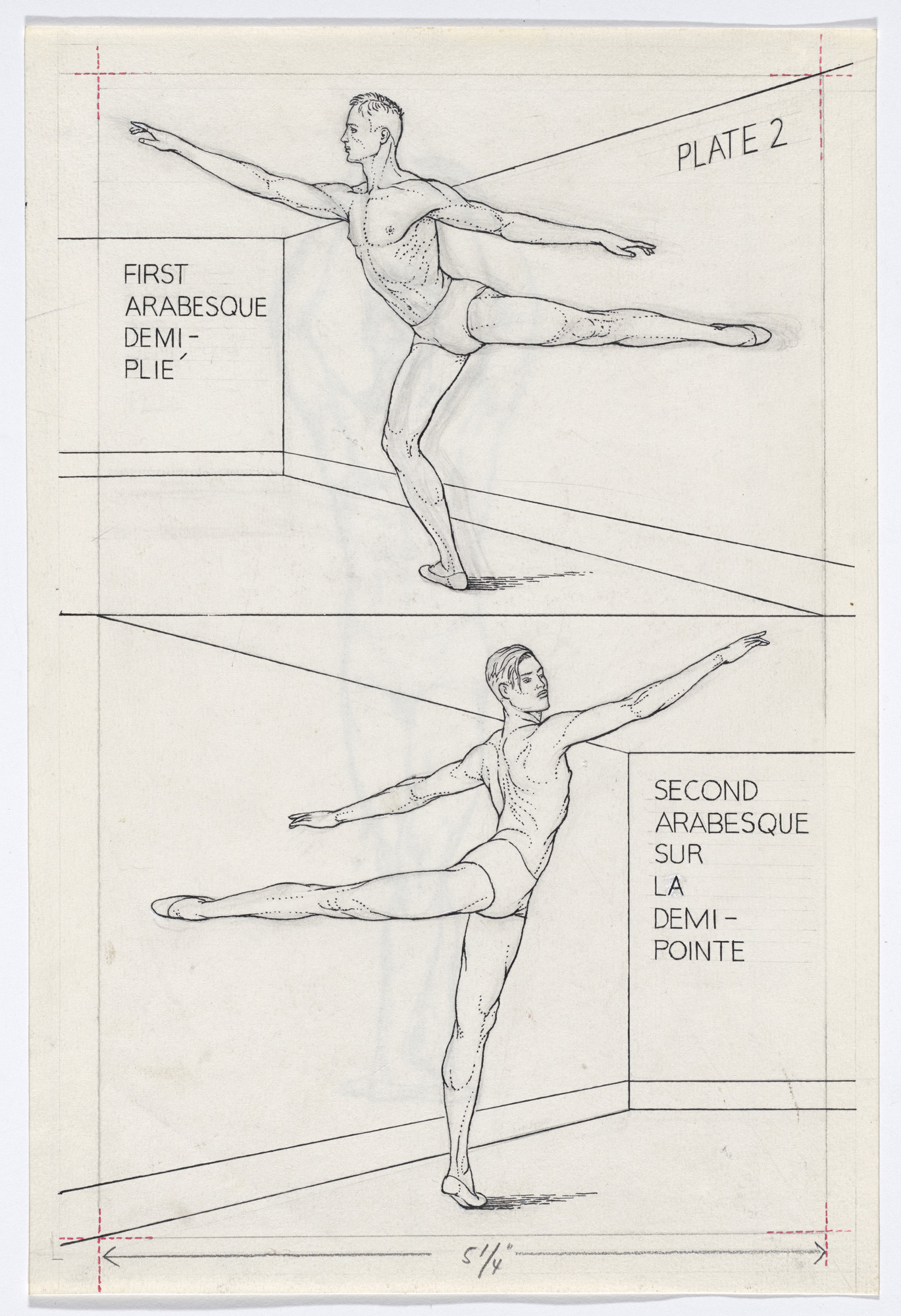 Paul Cadmus  Plate 2 from Ballet Positions  Drawing for
