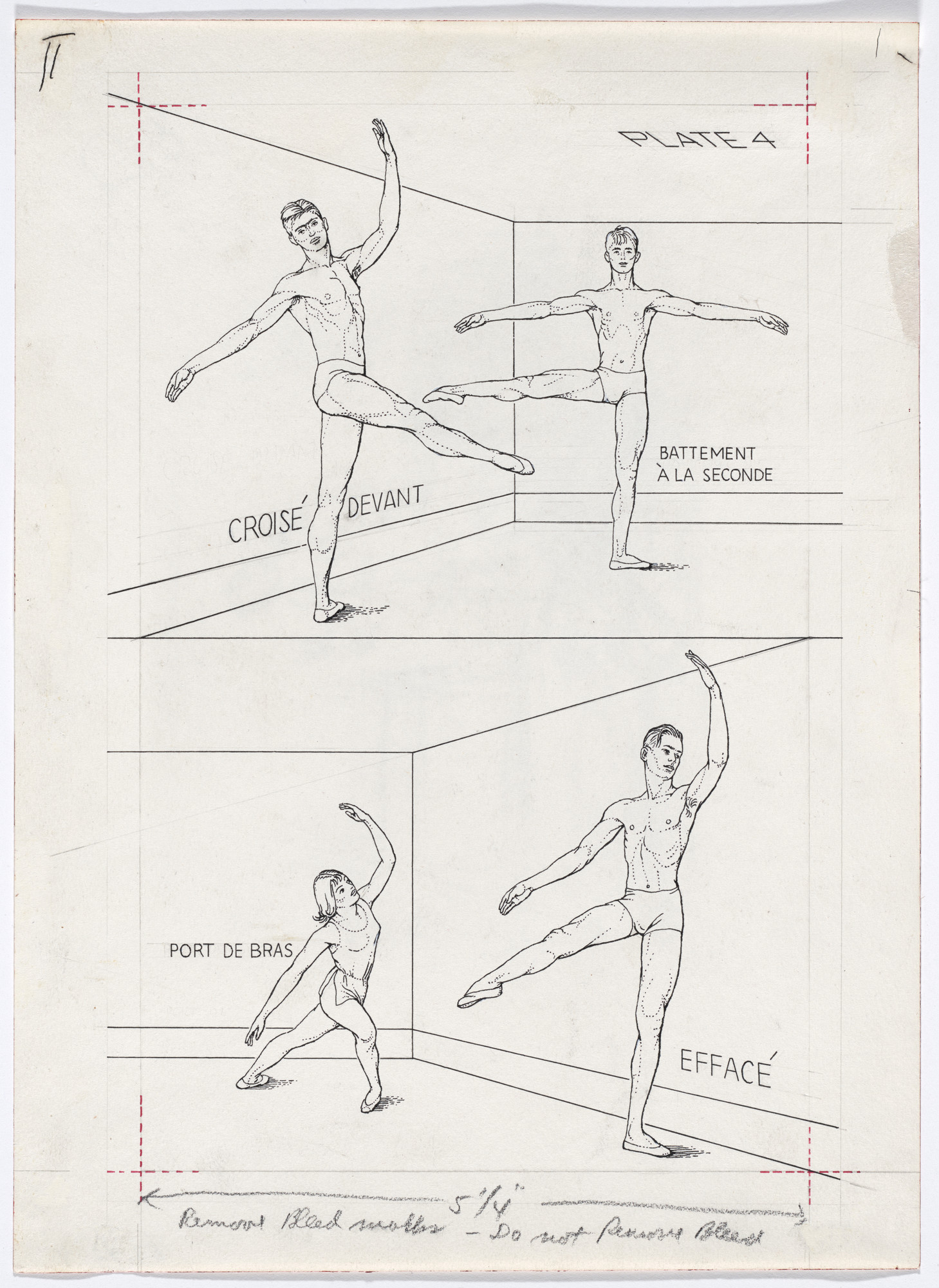 Paul Cadmus. Plate 4 from Ballet Positions. Drawing for Ballet Alphabet: A Primer for Laymen. 1939