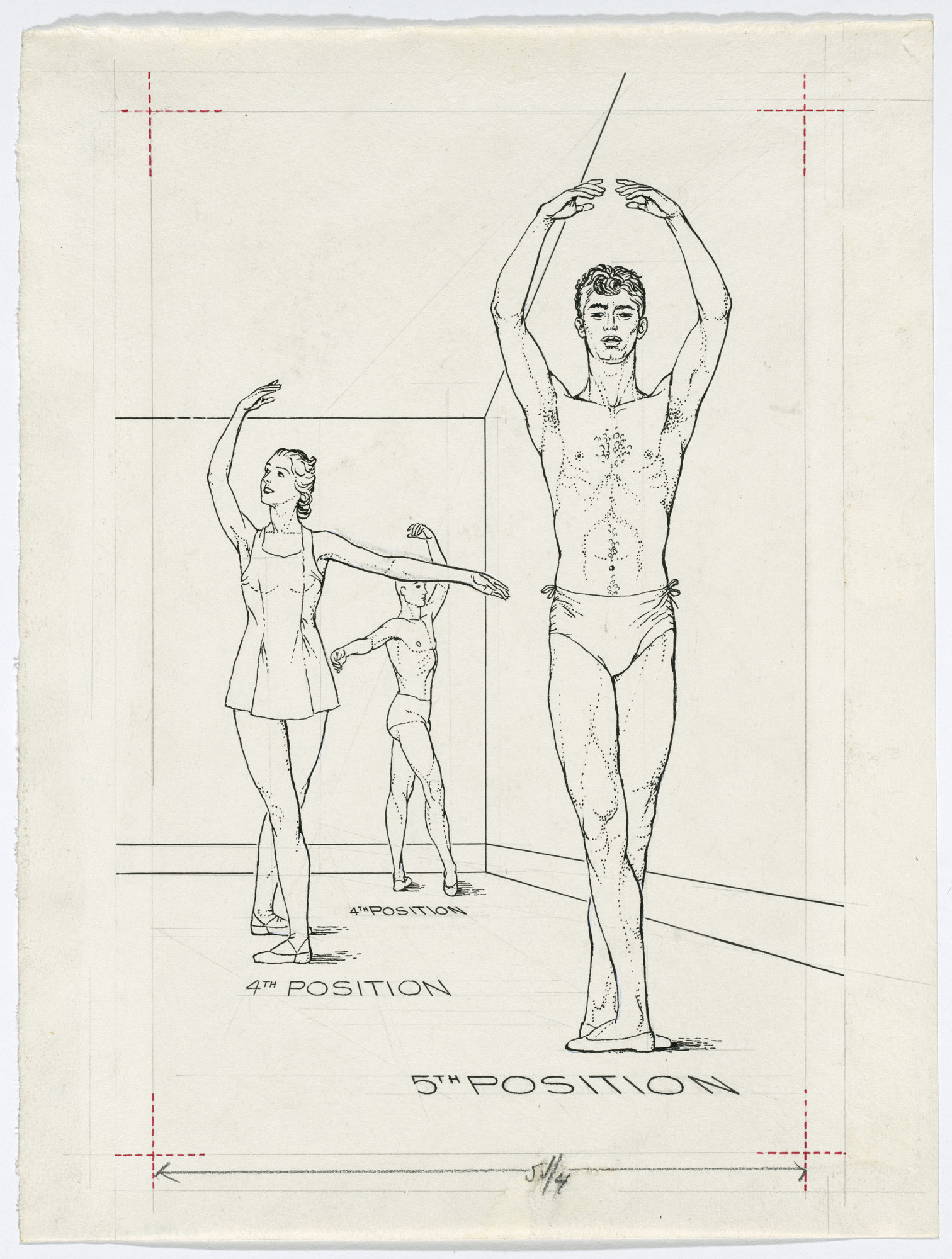 Paul Cadmus. Untitled from Ballet Positions. Drawing for Ballet Alphabet: A Primer for Laymen. 1939