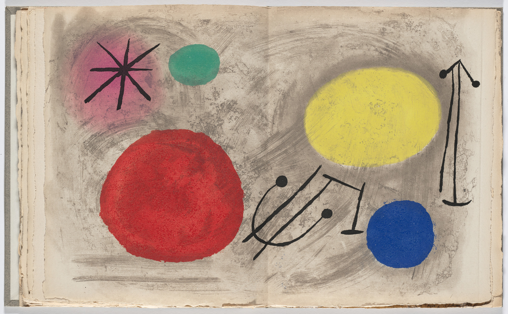 Joan Miró. Double page plate (pages 38 and 39) from Bagatelles végétales. 1956