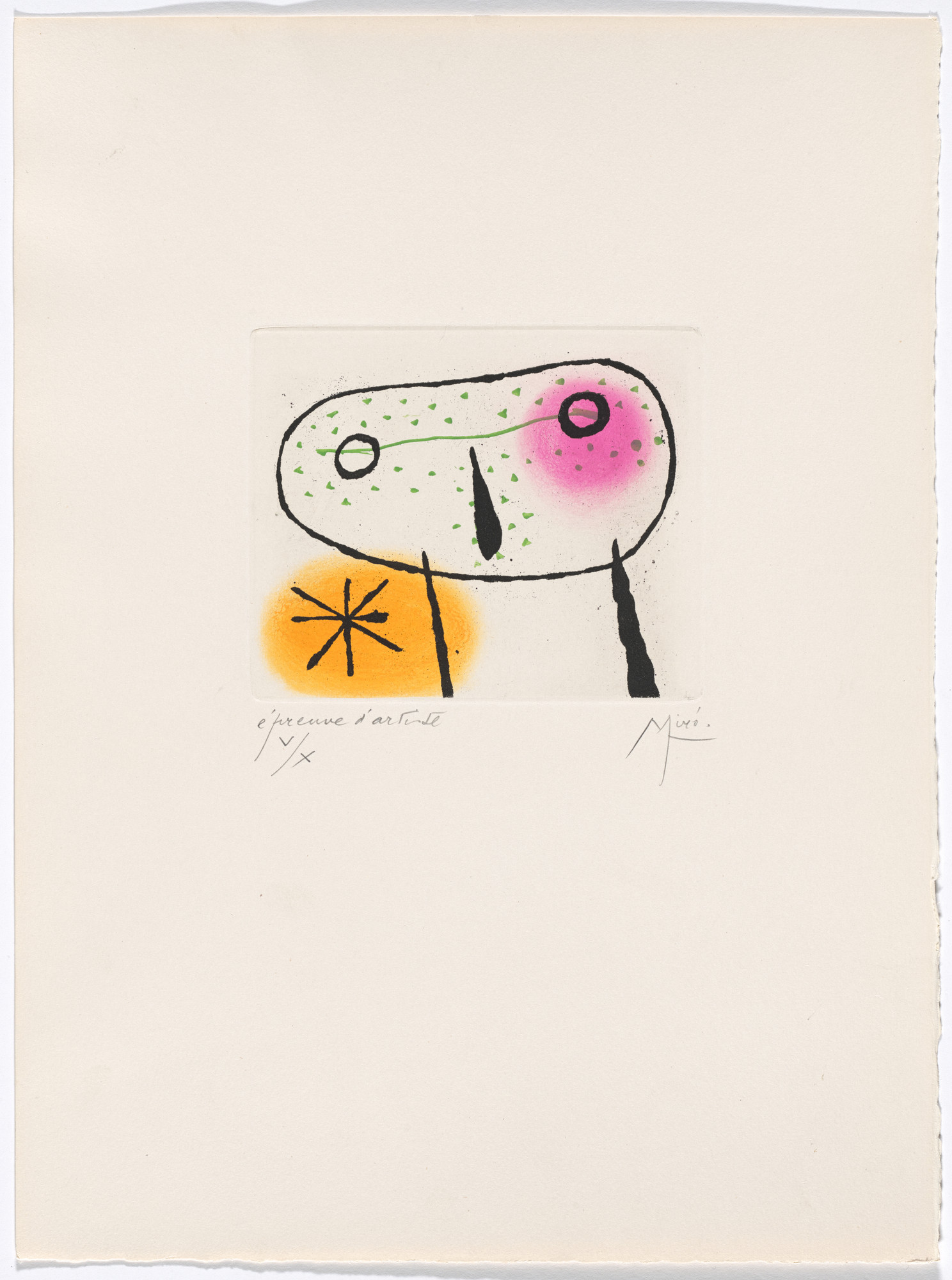 Joan Miró. Plate X from The Ring of Dawn Suite (Suite la bague d'aurore). 1957