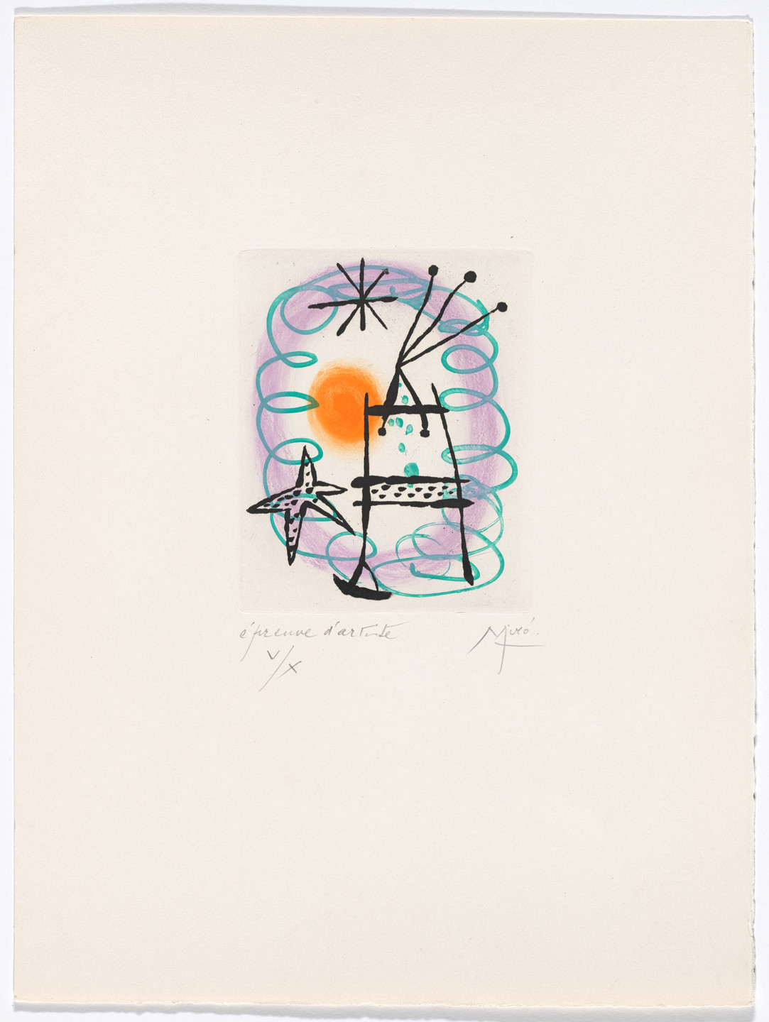 Joan Miró. Plate XIII from The Ring of Dawn Suite (Suite la bague d'aurore). 1957