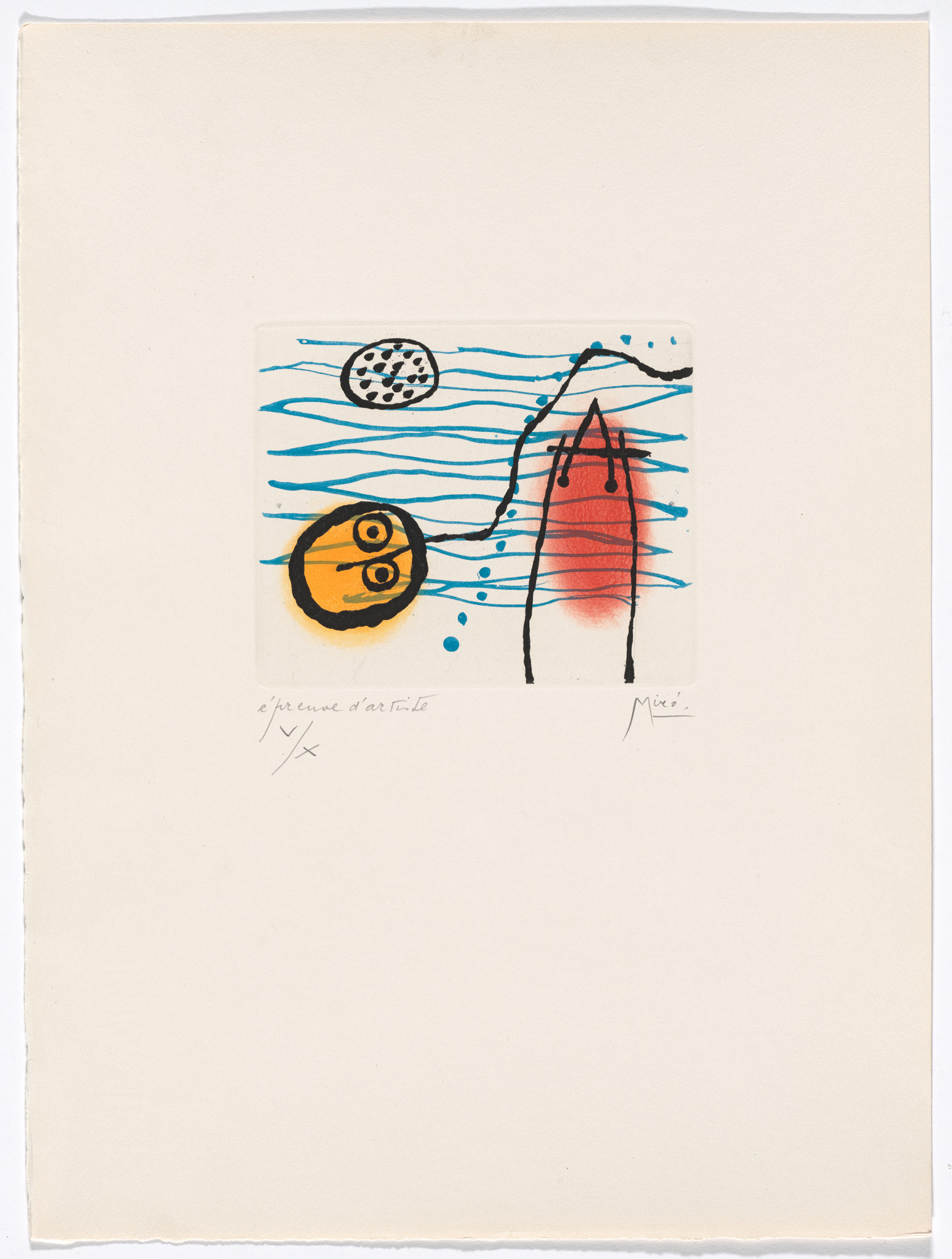 Joan Miró. Plate VII from The Ring of Dawn Suite (Suite la bague d'aurore). 1957