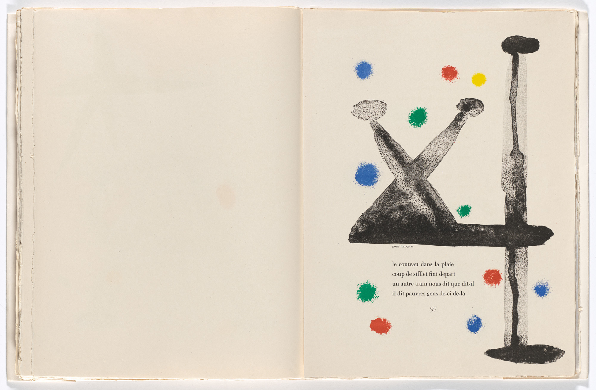 Joan Miró. In-text plate (page 97) from Parler seul (Speaking Alone). 1948–50, published 1950