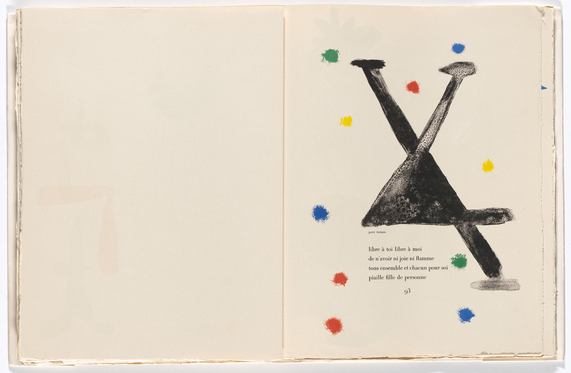 Joan Miró. In-text plate (page 93) from Parler seul (Speaking Alone). 1948–50, published 1950
