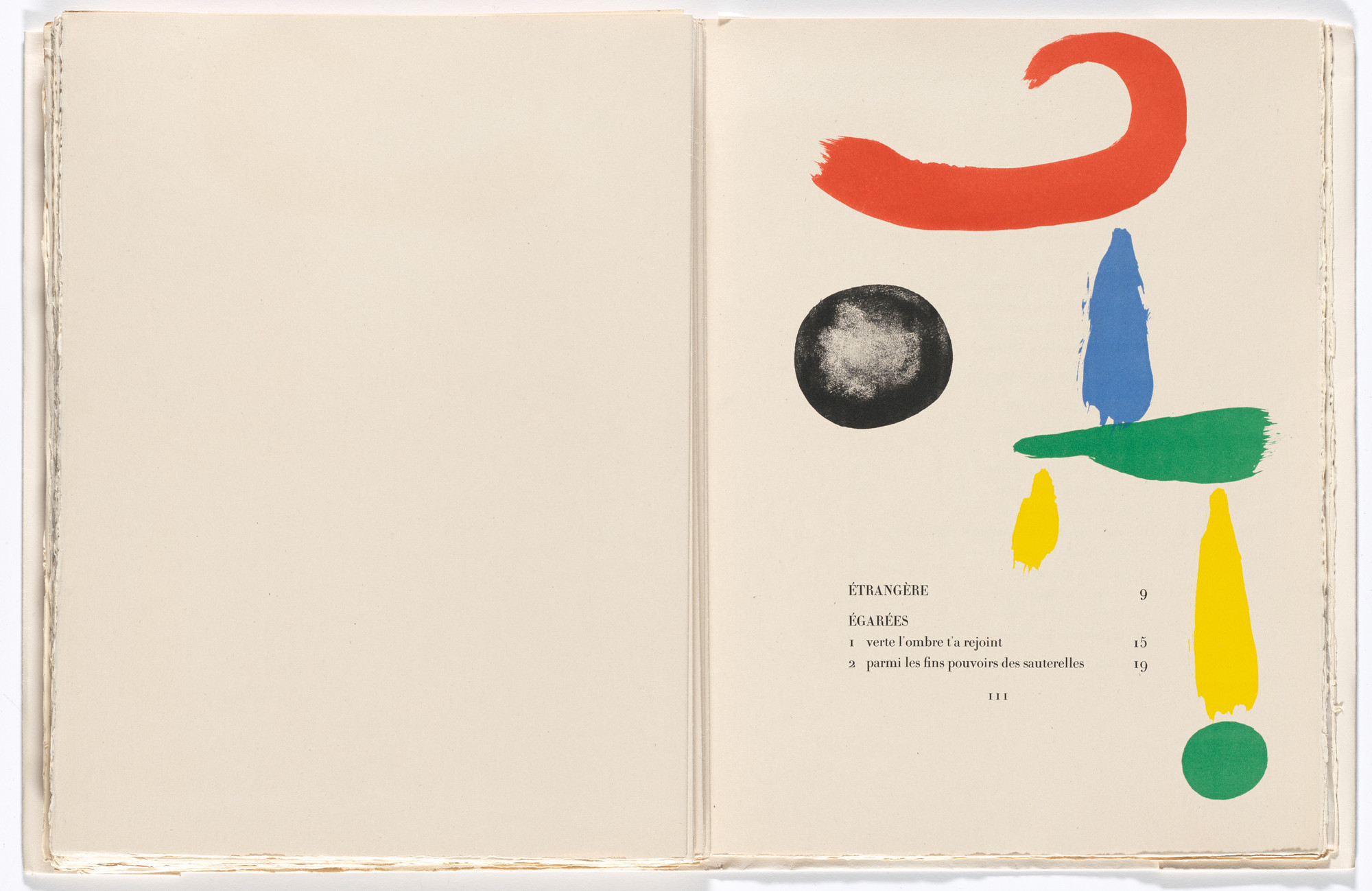Joan Miró. Headpiece (page 111) from Parler seul (Speaking Alone). 1948–50, published 1950