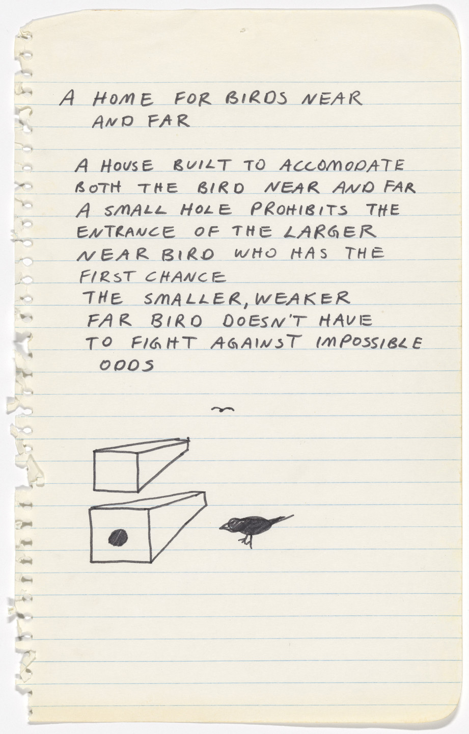 Mike Kelley. A Home for Birds Near and Far. 1978
