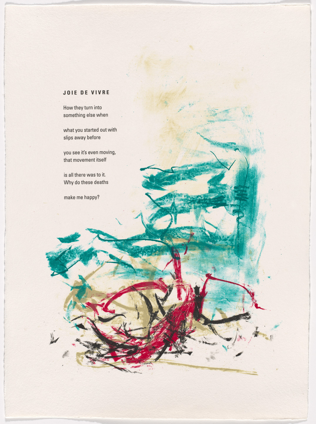Joan Mitchell. In-text plate (folio 2) from Poems. 1992